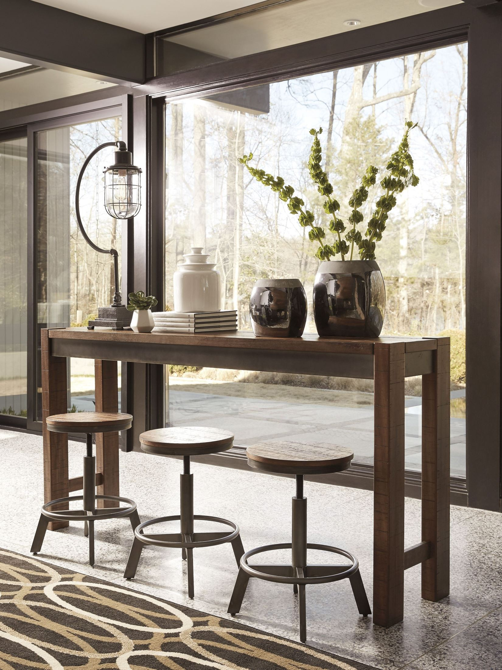 Torjin brown and gray long counter height dining room set for Brown dining room set