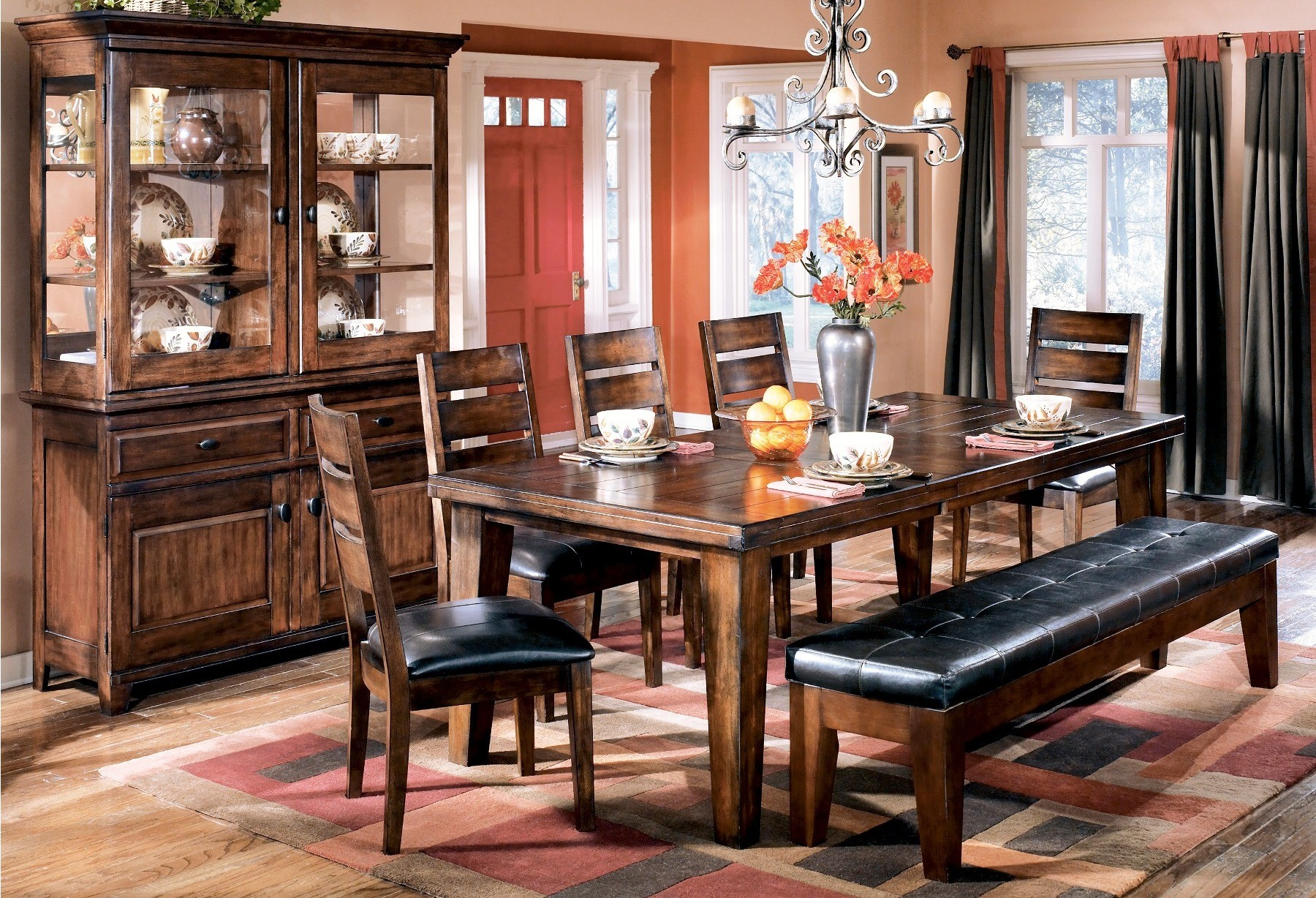 Larchmont Extendable Dining Room Set From Ashley D442 45 Coleman Furniture