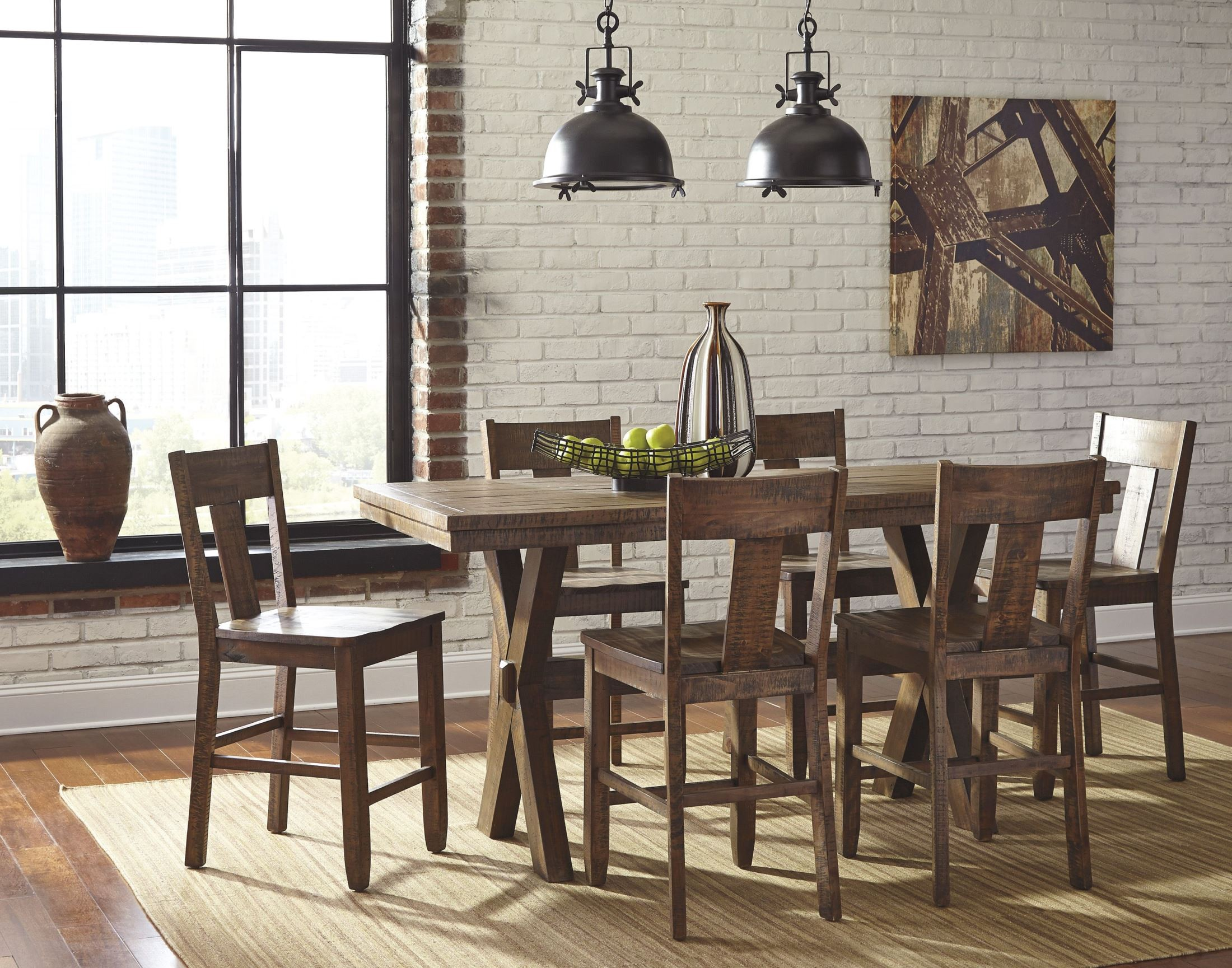 Walnord Rustic Brown Rectangular Counter Dining Room Set From Ashley D463 13