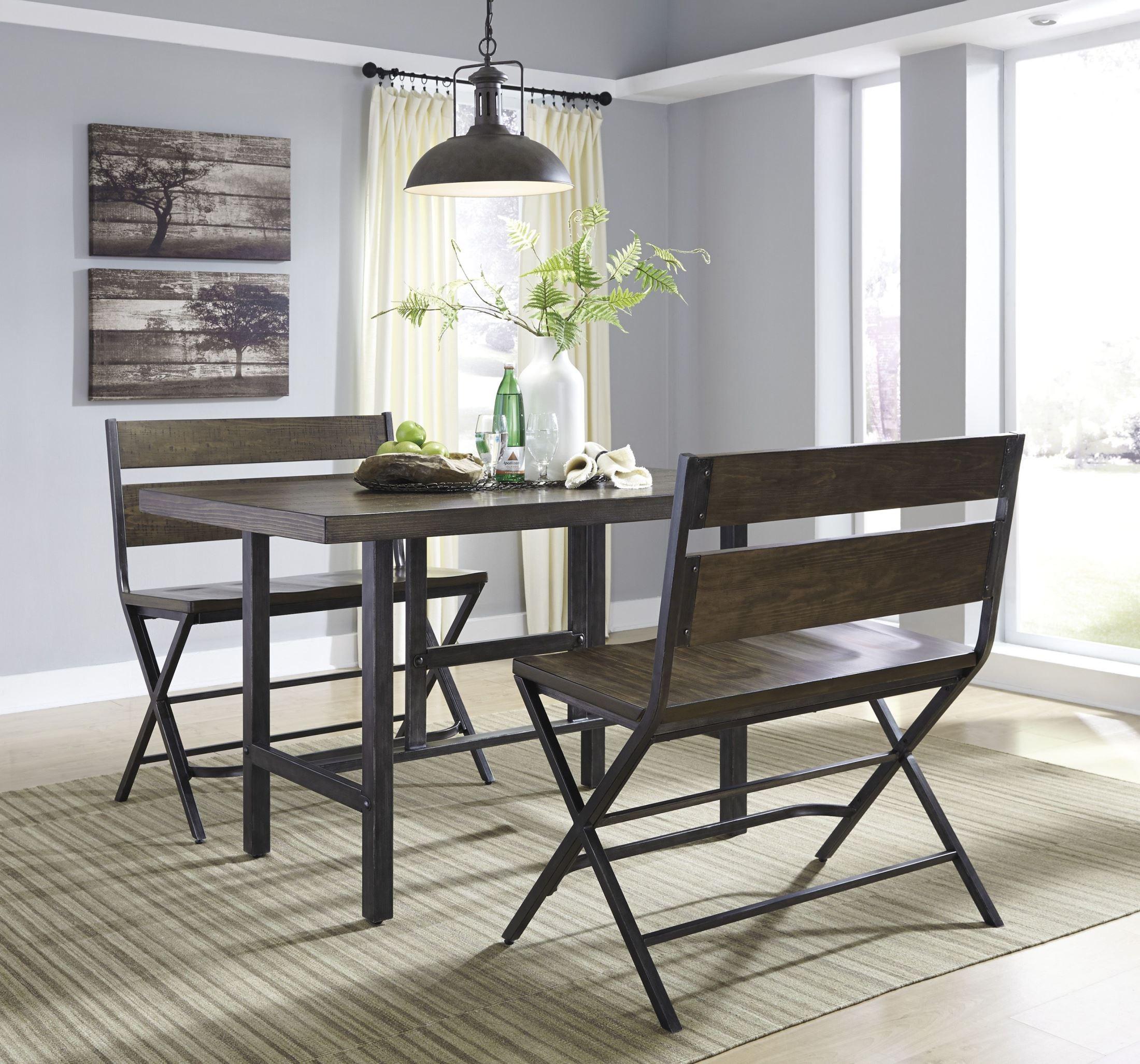 Kavara medium brown rectangular counter dining room set for 5 foot dining room table