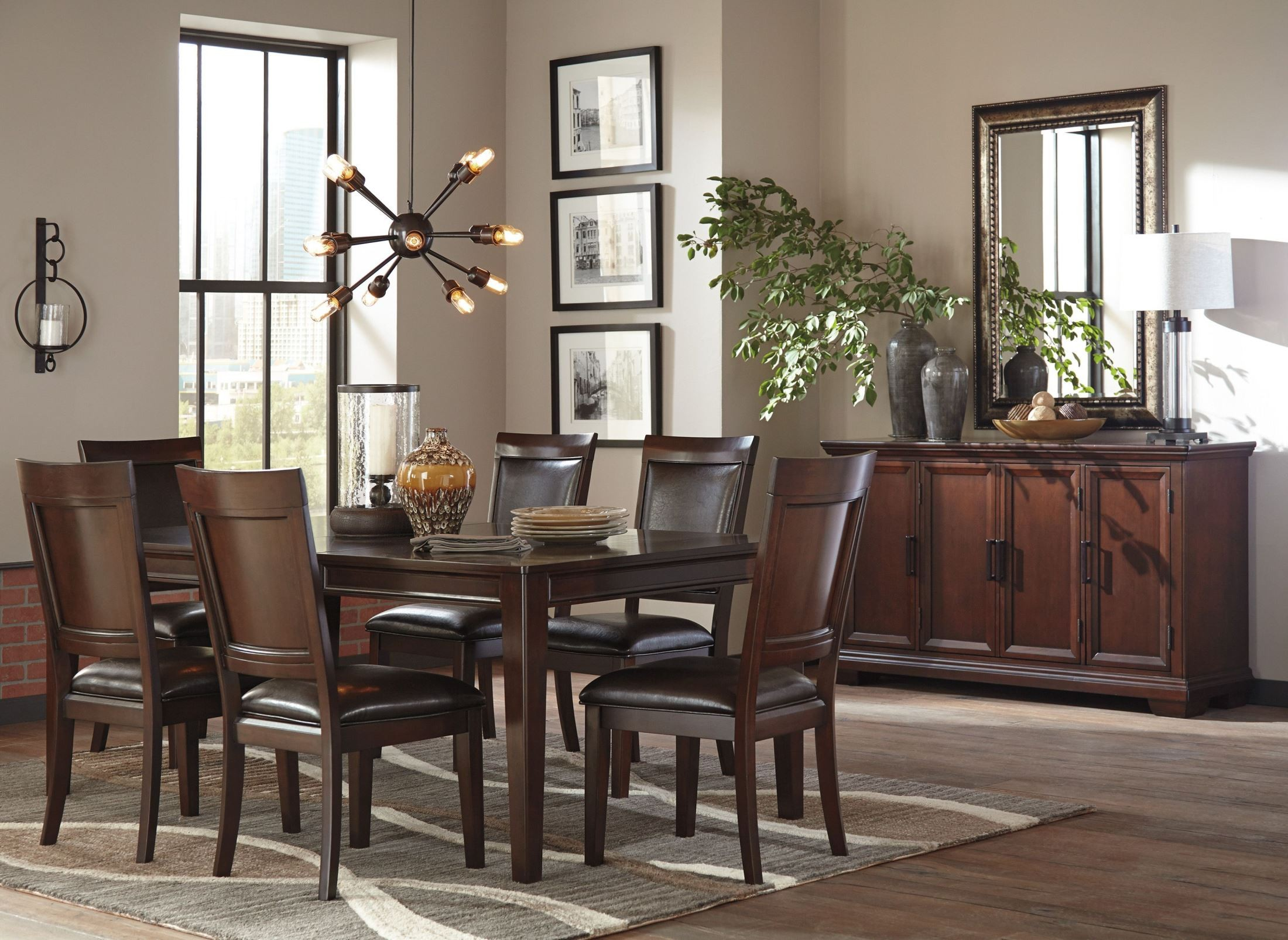 Shadyn brown rectangular extendable dining room set d471 for Brown dining room set