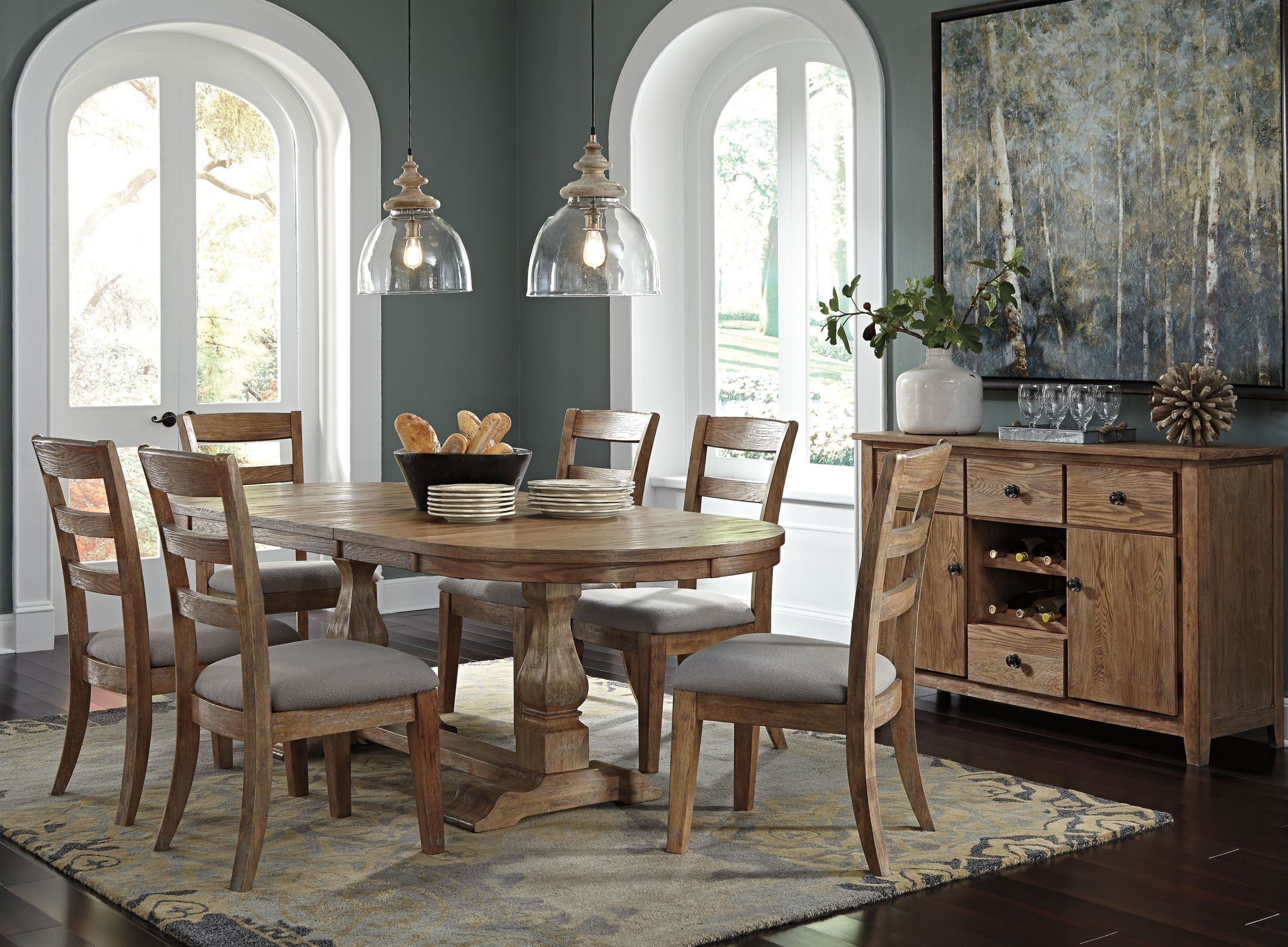 Danimore light brown extendable oval dining room set from for Brown dining room set