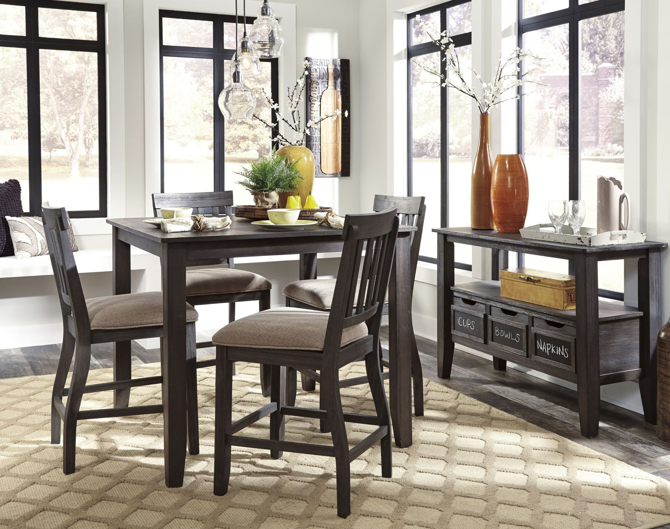 Dresbar grayish brown square counter height dining room for Brown dining room set