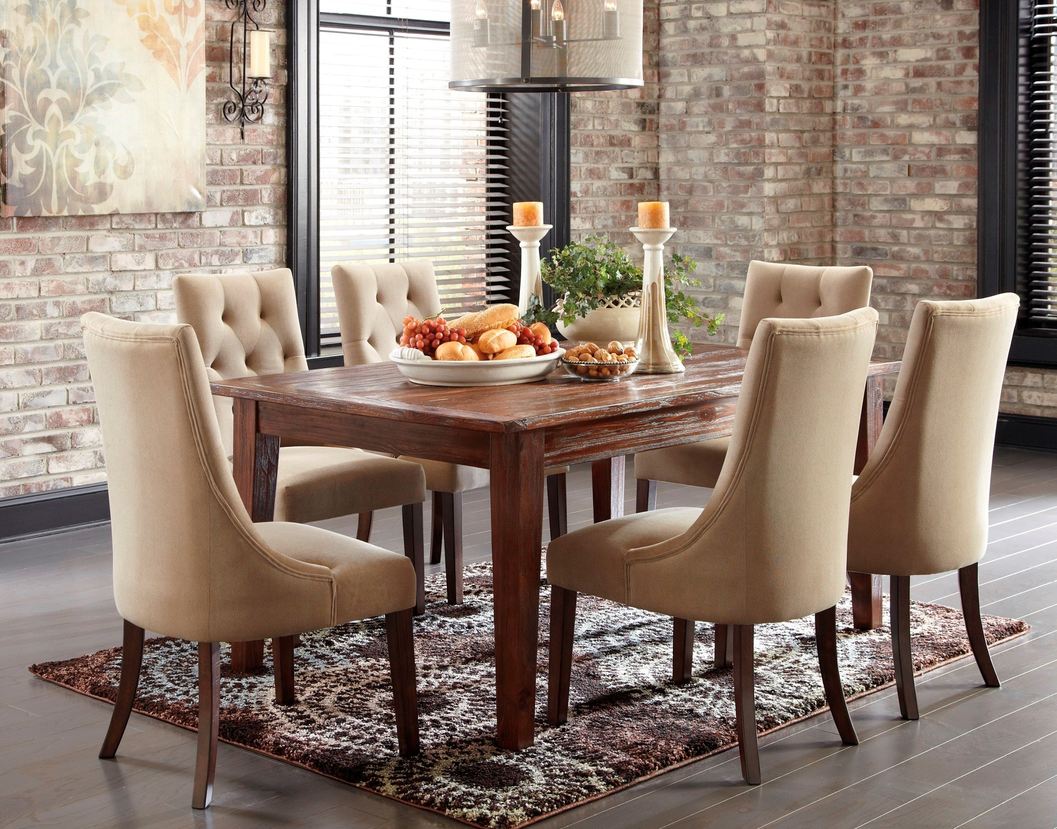 Mestler dark brown dining room set from ashley d540 125 for Dark brown dining room