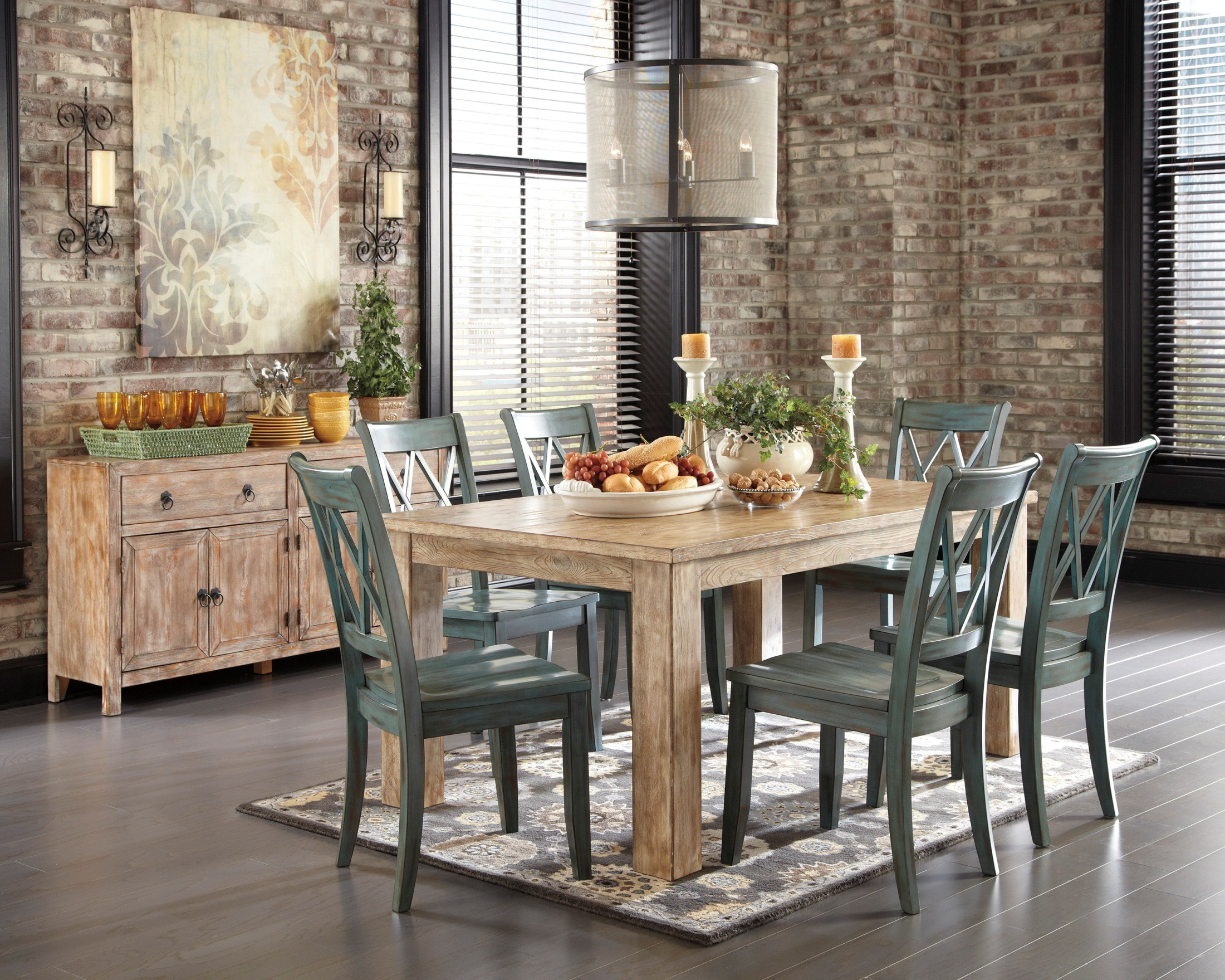 Ashley dining room furniture - Mestler Driftwood Dining Room Set From Ashley D540 225 Coleman Furniture