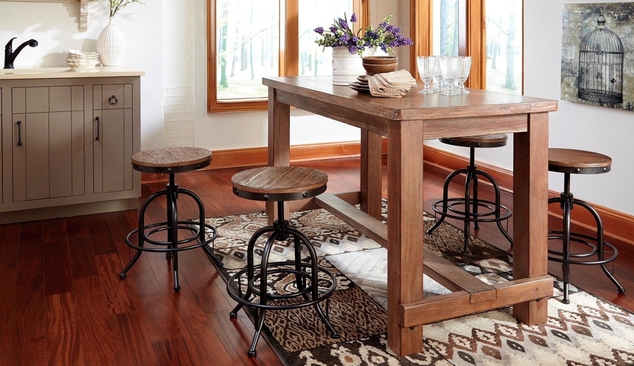 Counter Height Rectangular Dining Set : Pinnadel Rectangular Counter Height Dining Room Set from Ashley (D542 ...