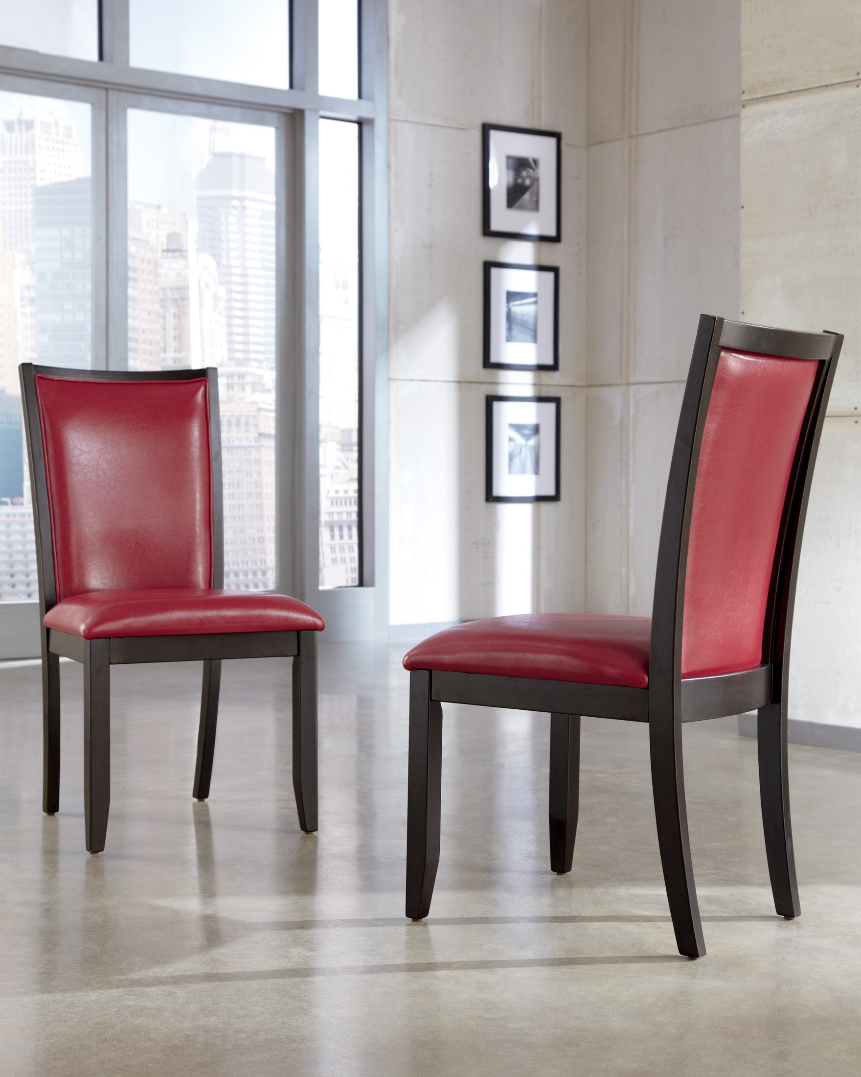 Leahlyn Reddish Brown Arm Chair Set Of 2: Trishelle Dining Upholstered Red Side Chair Set Of 2 From
