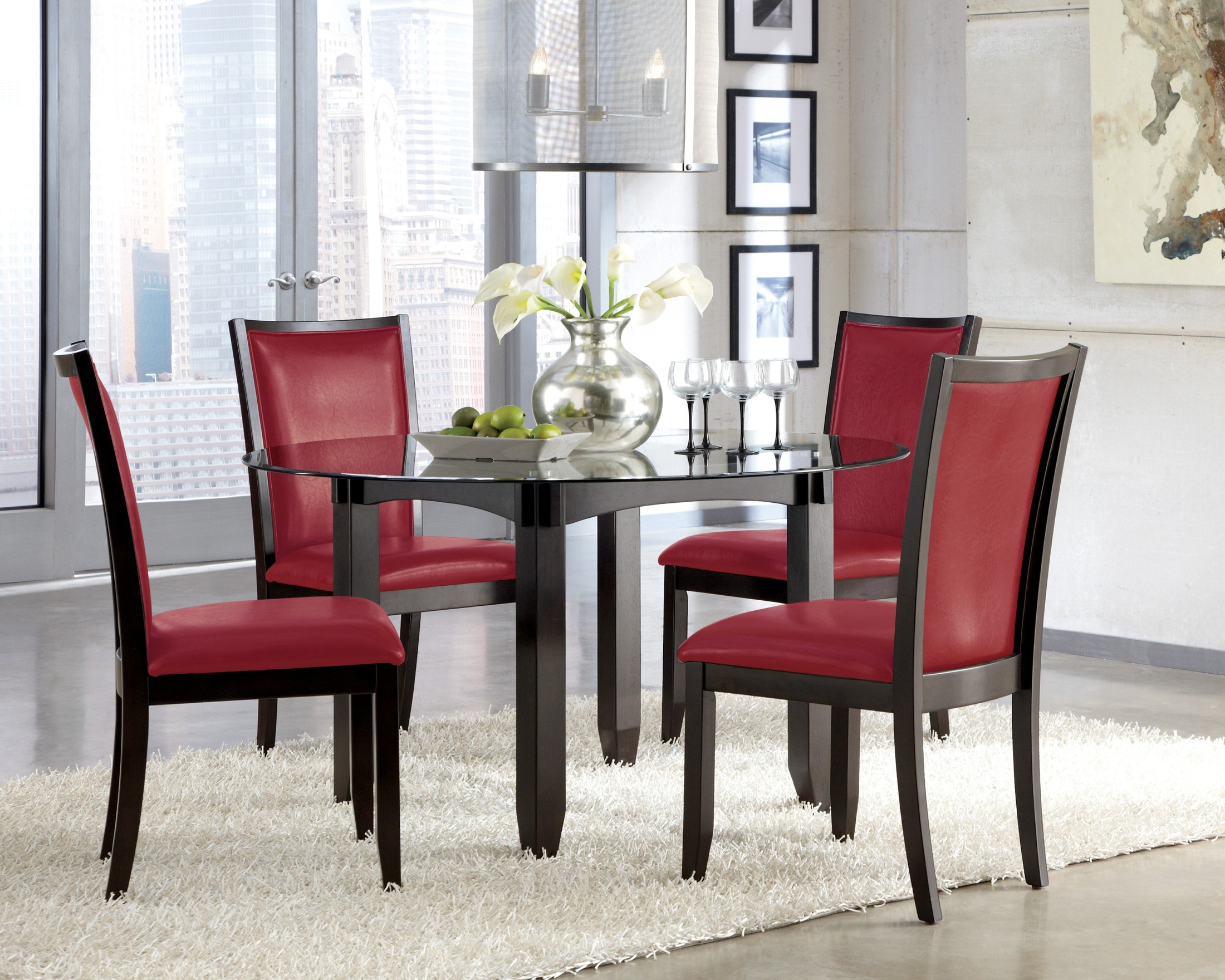 Trishelle dining upholstered red side chair set of 2 from for Red modern dining chairs