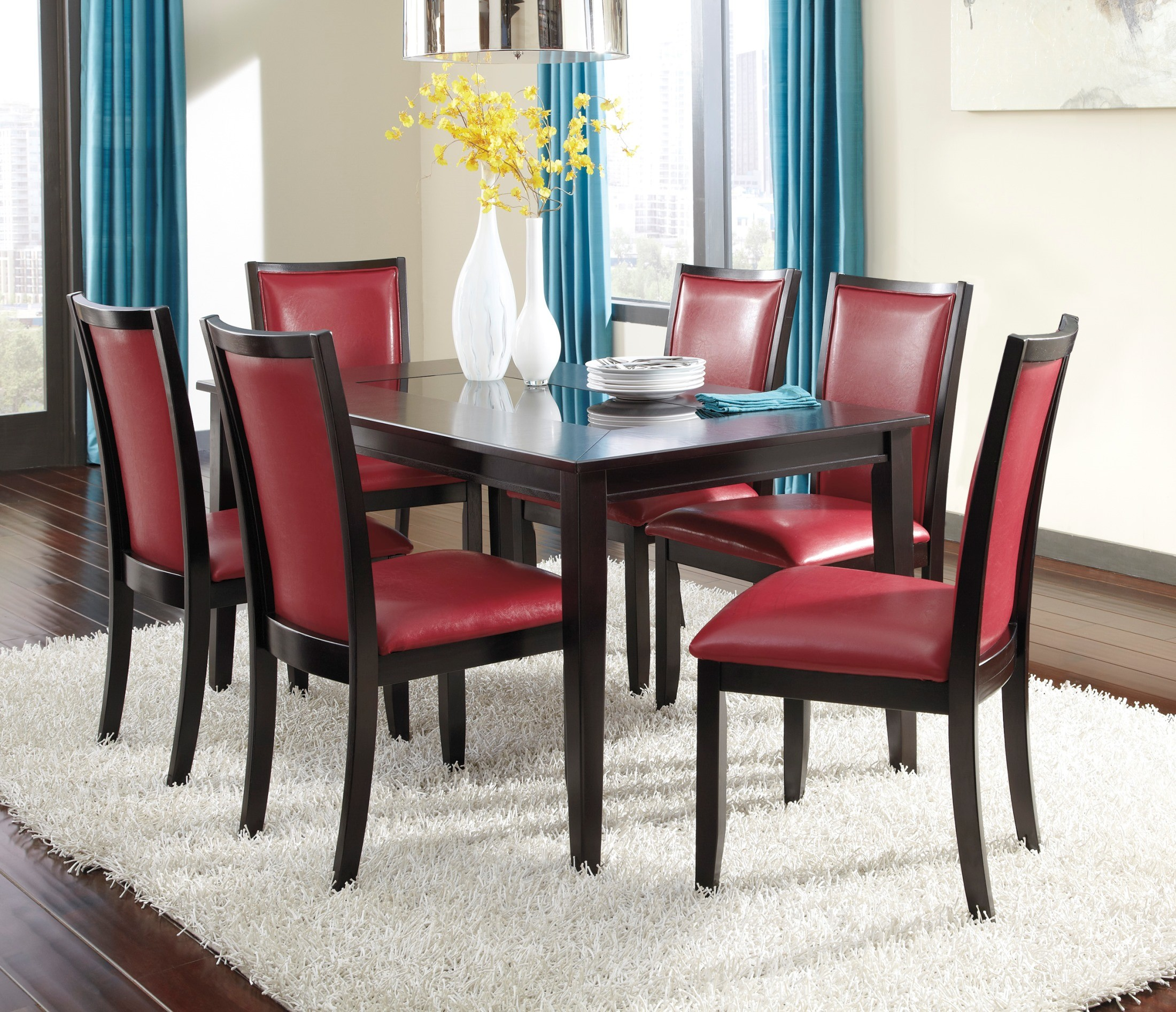 Trishelle dining upholstered red side chair set of 2 from for Red upholstered dining chair