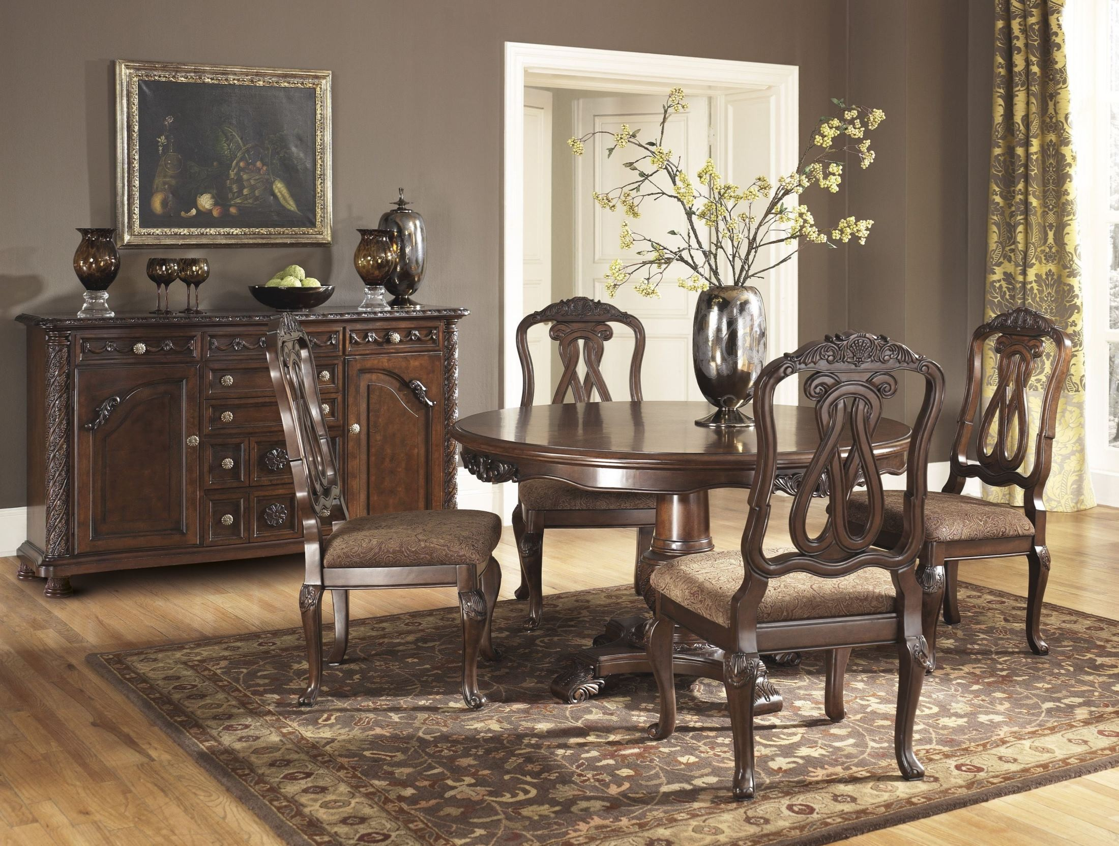 north shore round pedestal dining room set from ashley d553 50t 50b