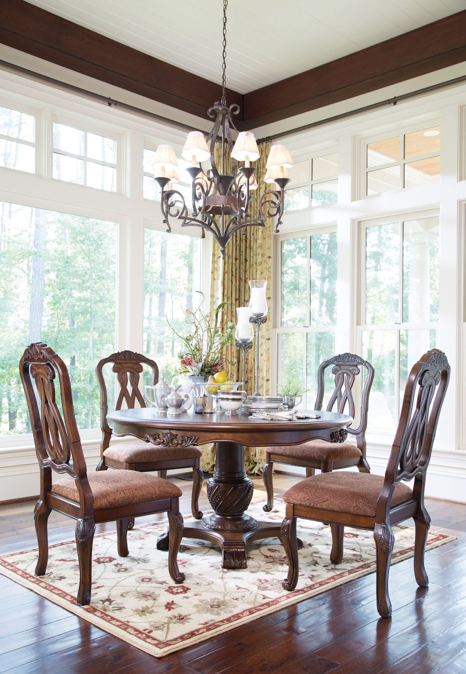 North shore round pedestal dining room set from ashley d553 50t 50b coleman furniture - Ashley north shore dining room set ...