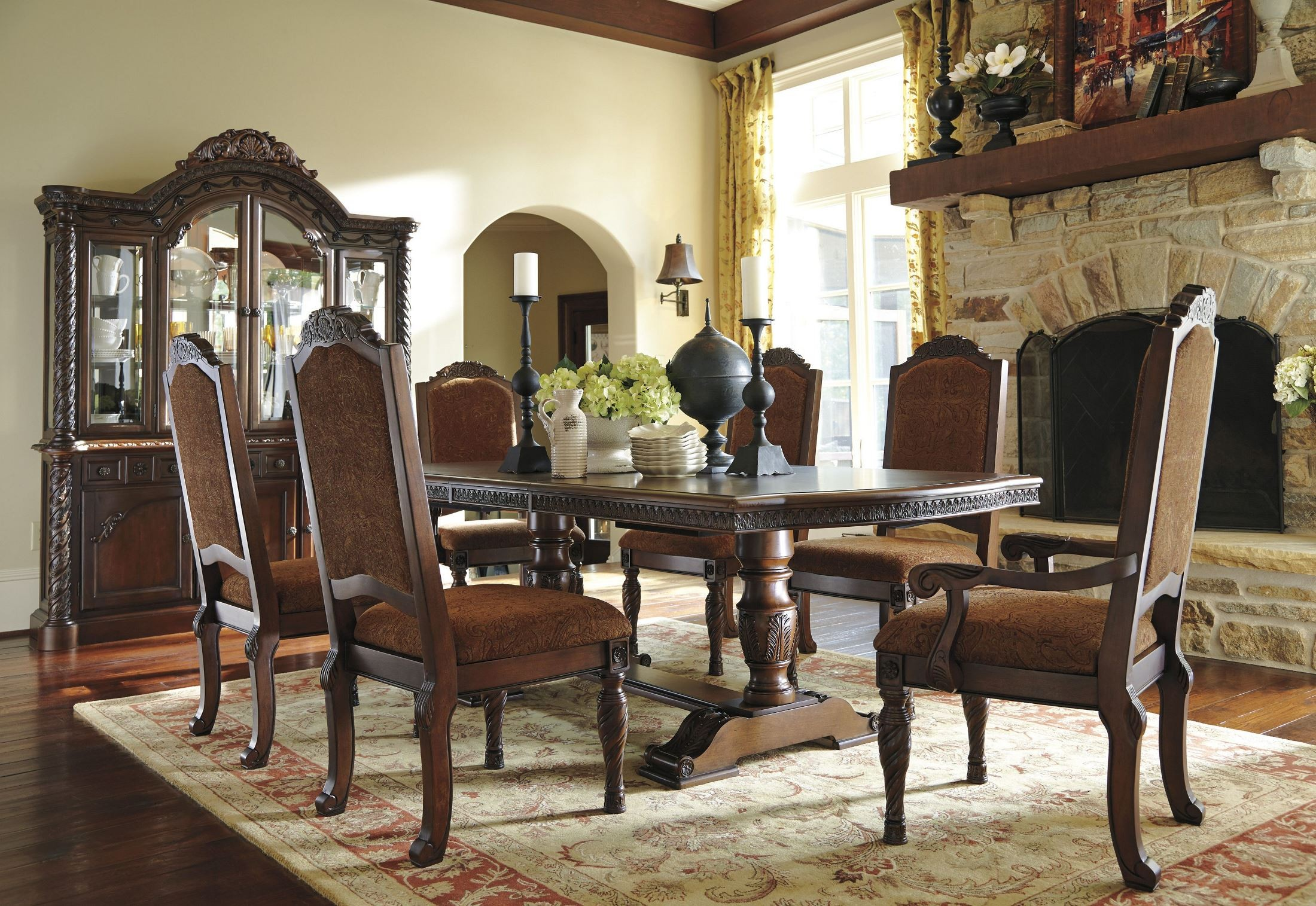 North shore double pedestal extendable dining room set from ashley d553 55 coleman furniture - Ashley north shore dining room set ...