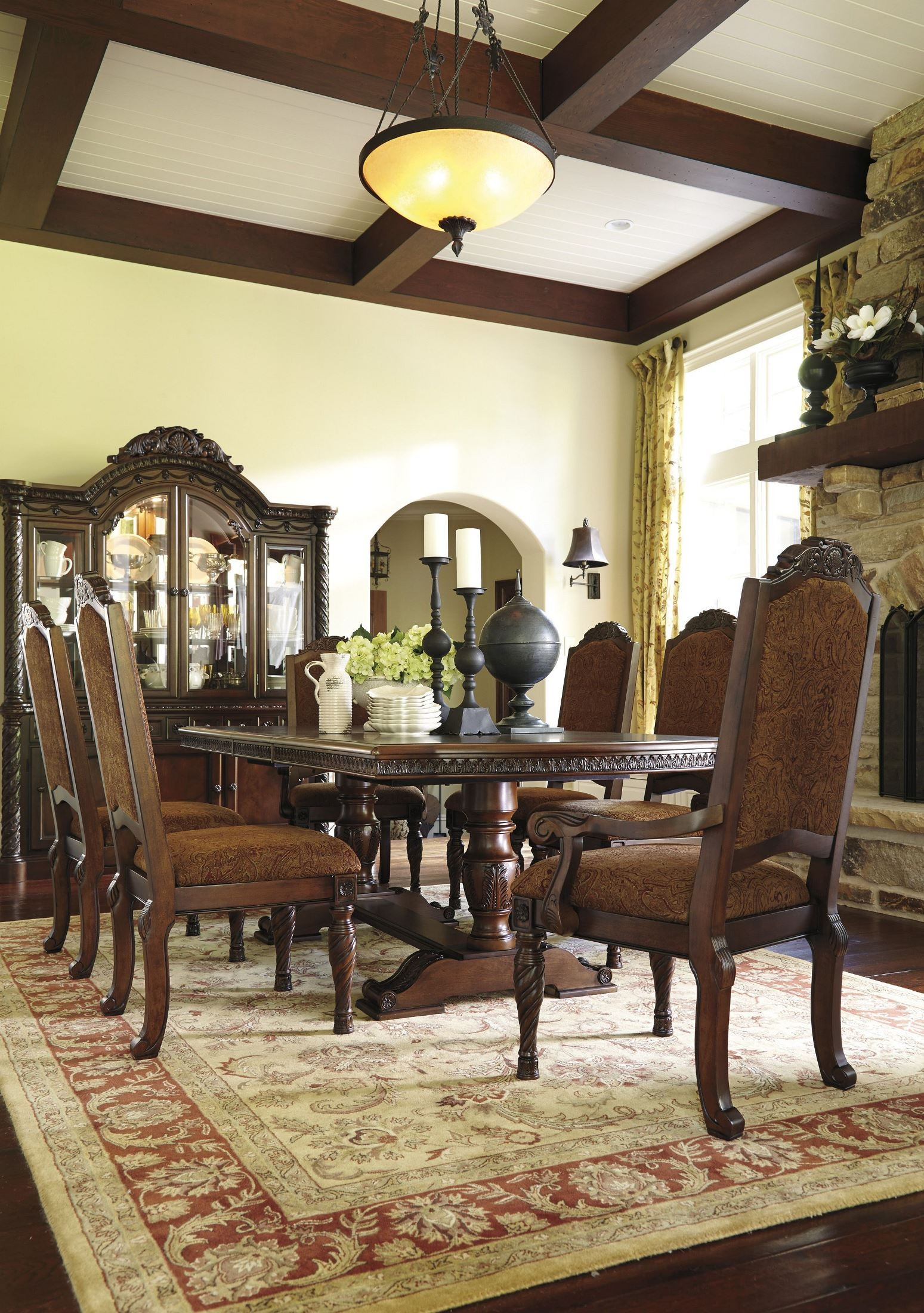 north shore double pedestal extendable dining room set buy north shore rectangular dining room set by millennium