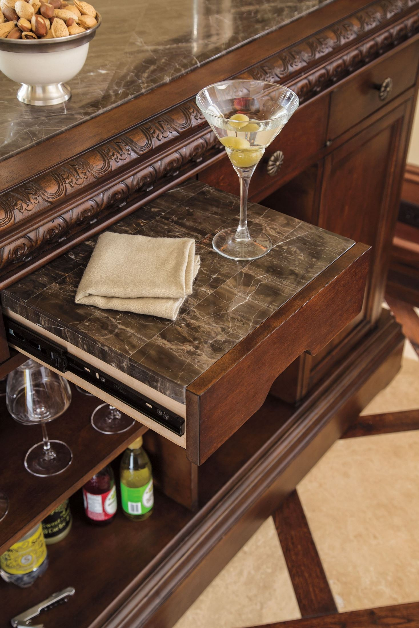 North Shore Marble Top Bar From Ashley D553 65 Coleman Furniture