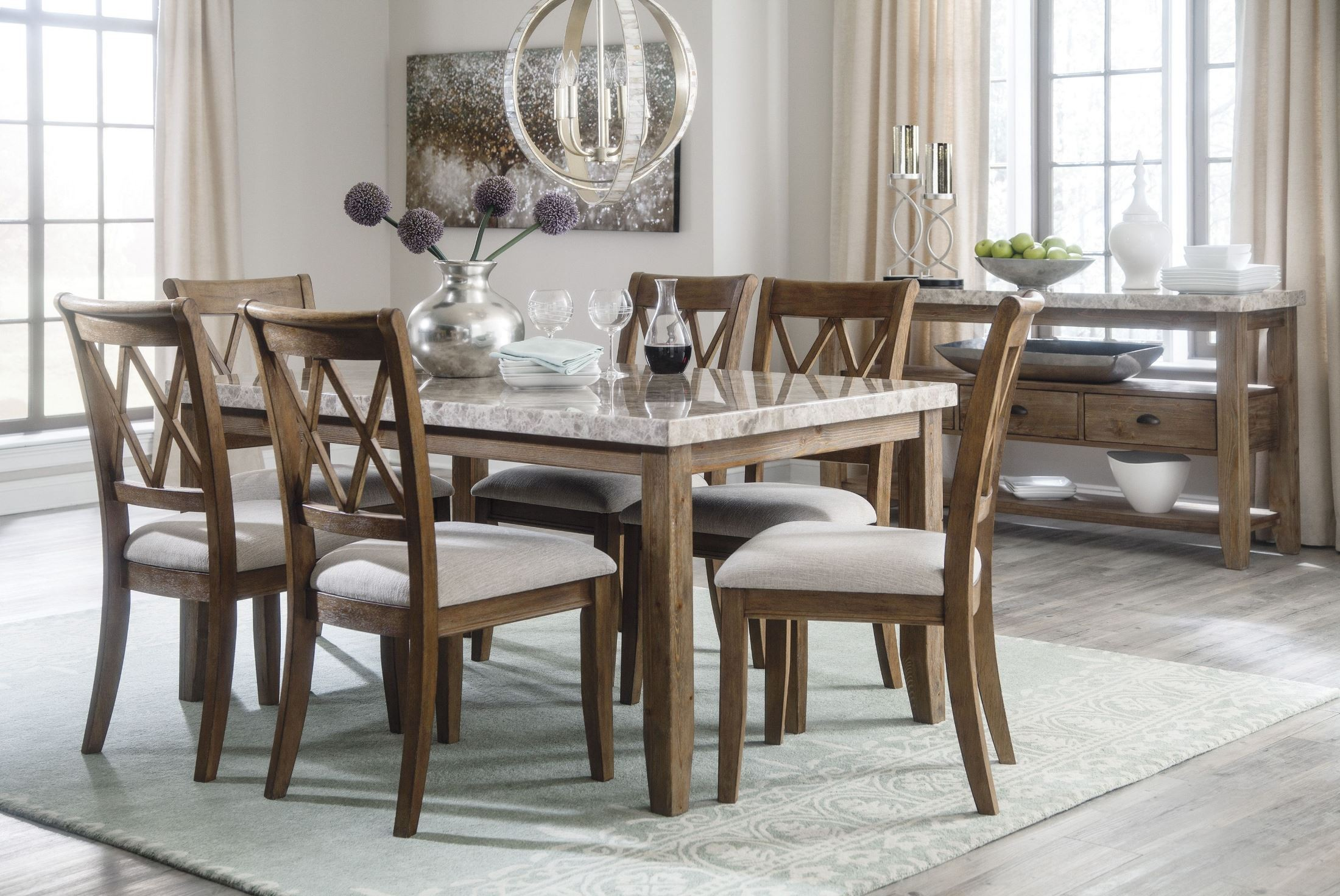 Narvilla two tone rectangular dining room set d559 25 ashley for 2 tone dining room sets