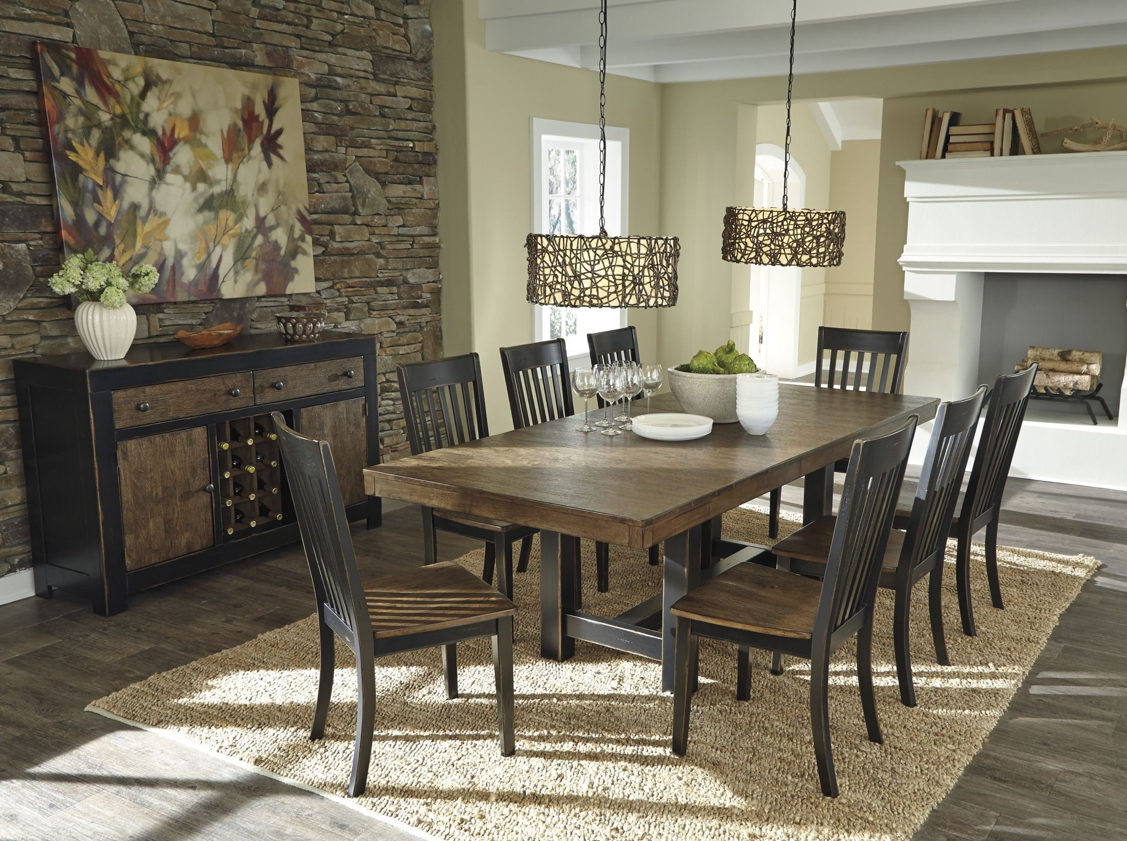 Emerfield two tone brown rectangular extendable dining for 2 tone dining room sets