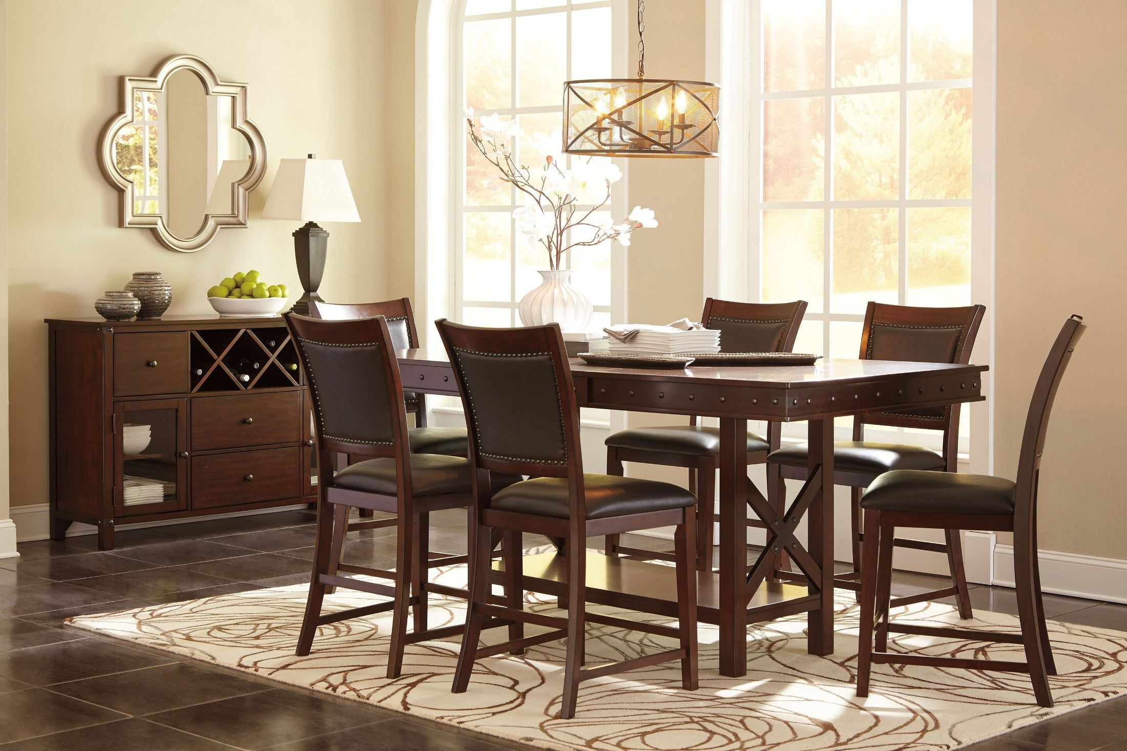Collenburg brown extendable counter height dining room set for Brown dining room set