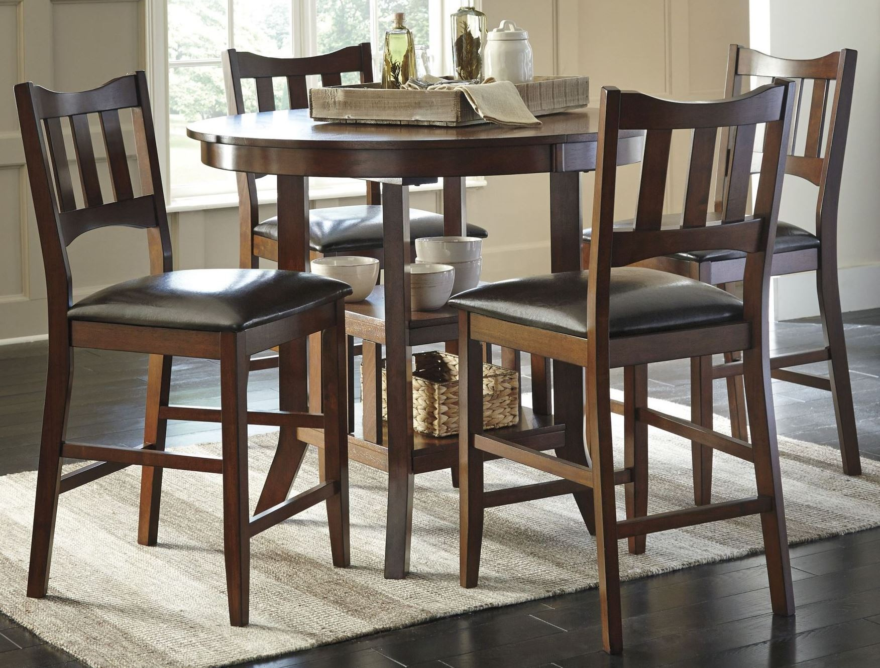 renaburg medium brown oval counter extendable dining room set from