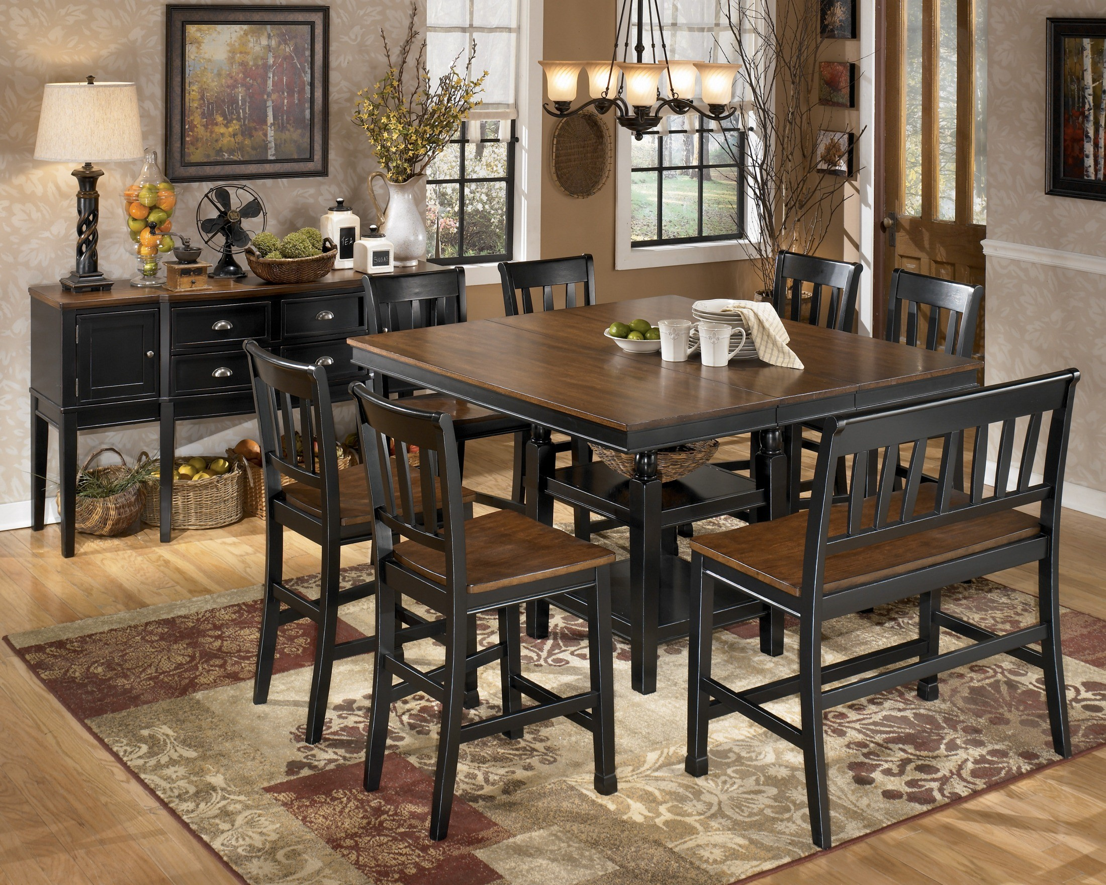 Owingsville square counter height extendable dining room for Square dinette sets