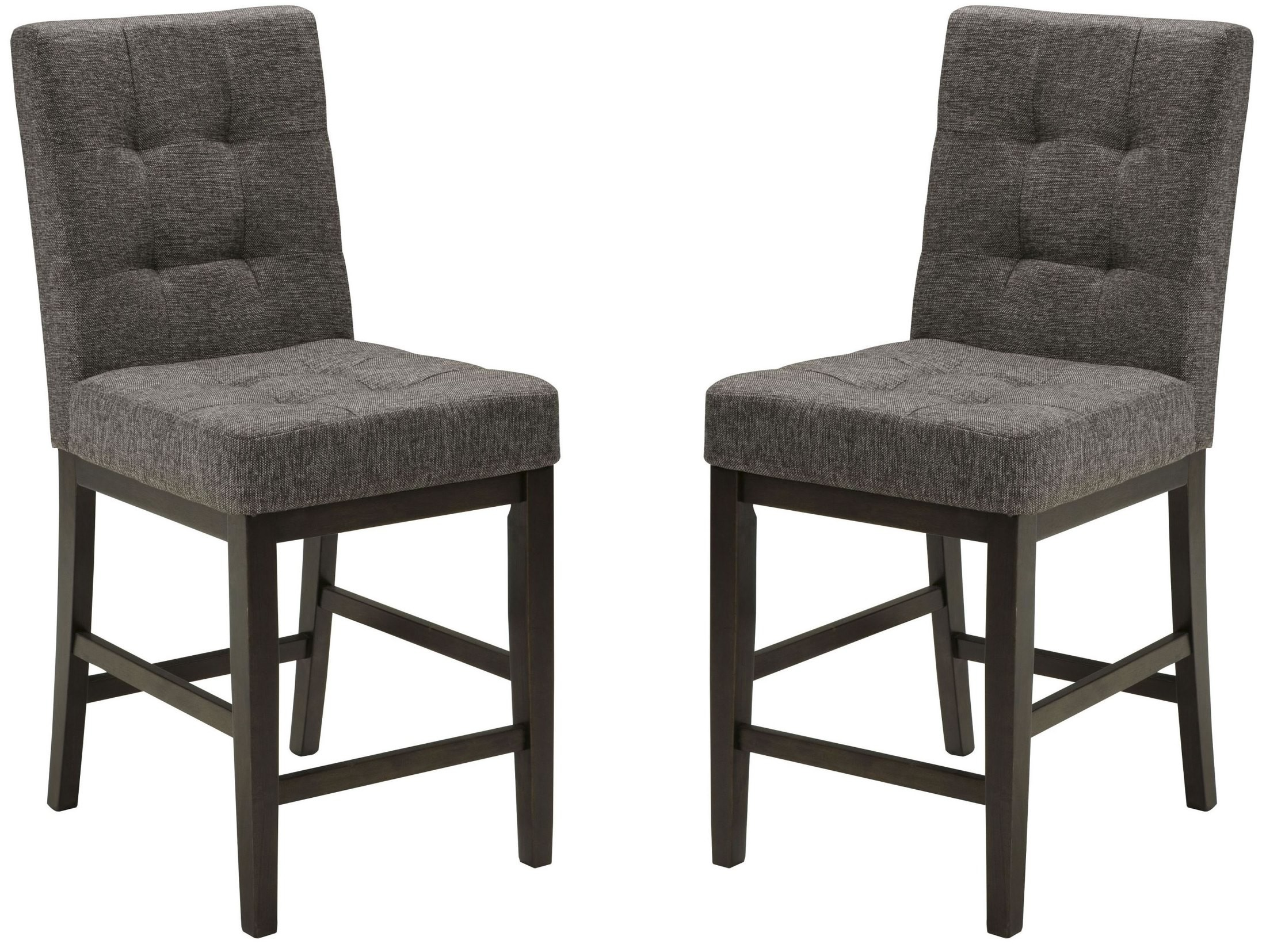 Chanella dark gray upholstered barstool set of 2 from for Furniture 124