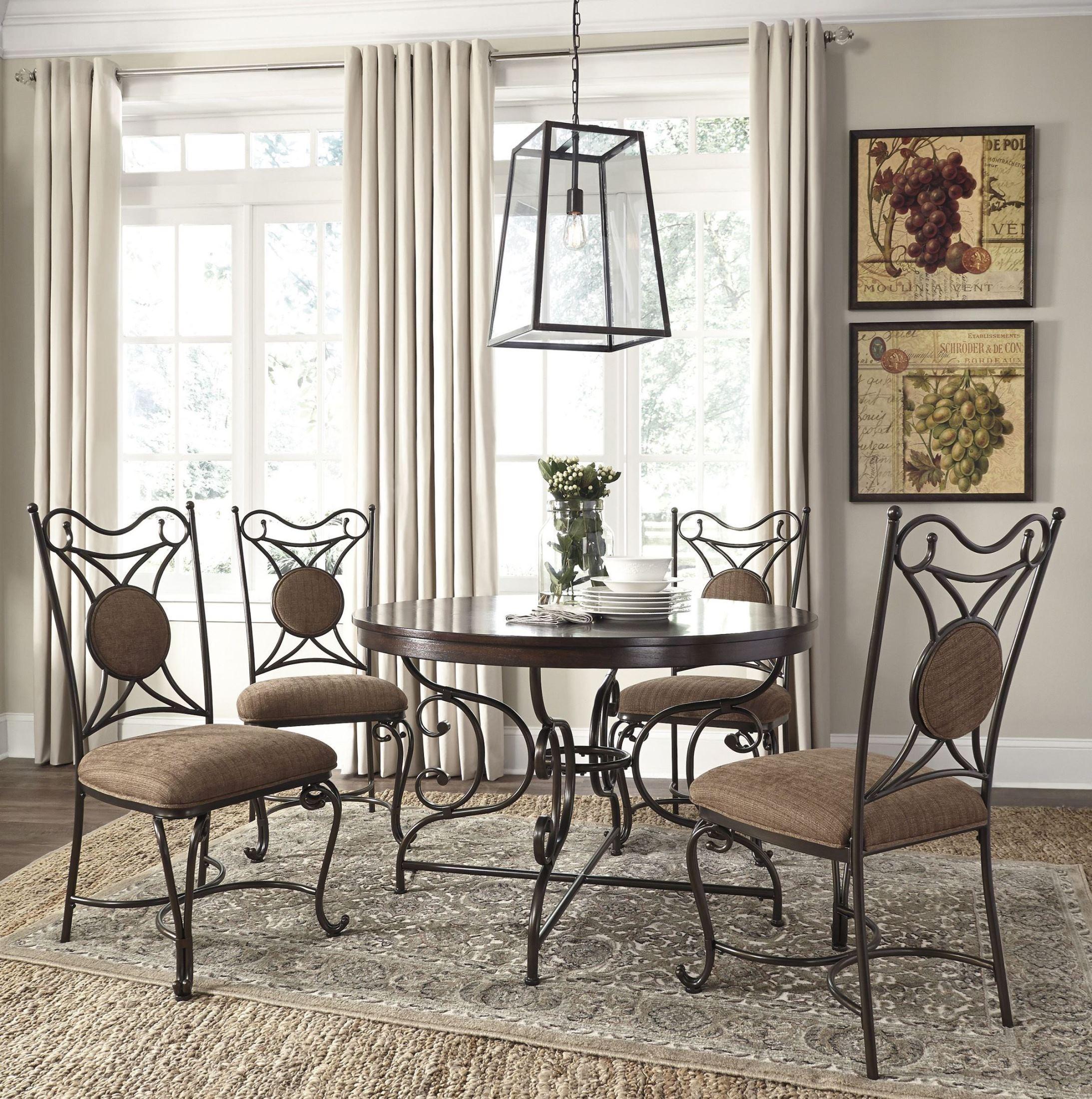 Brulind brown round dining room set d584 15 ashley for Brown dining room set