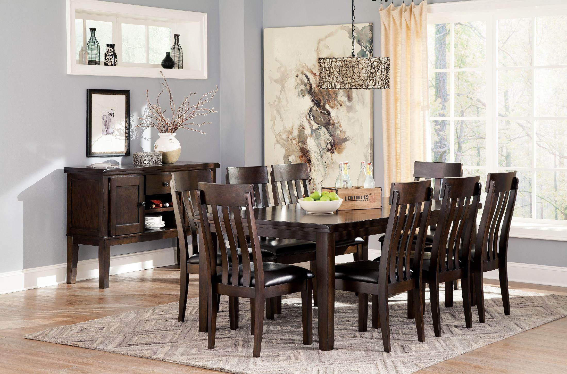 Haddigan dark brown rectangular extendable dining room set for Brown dining room set