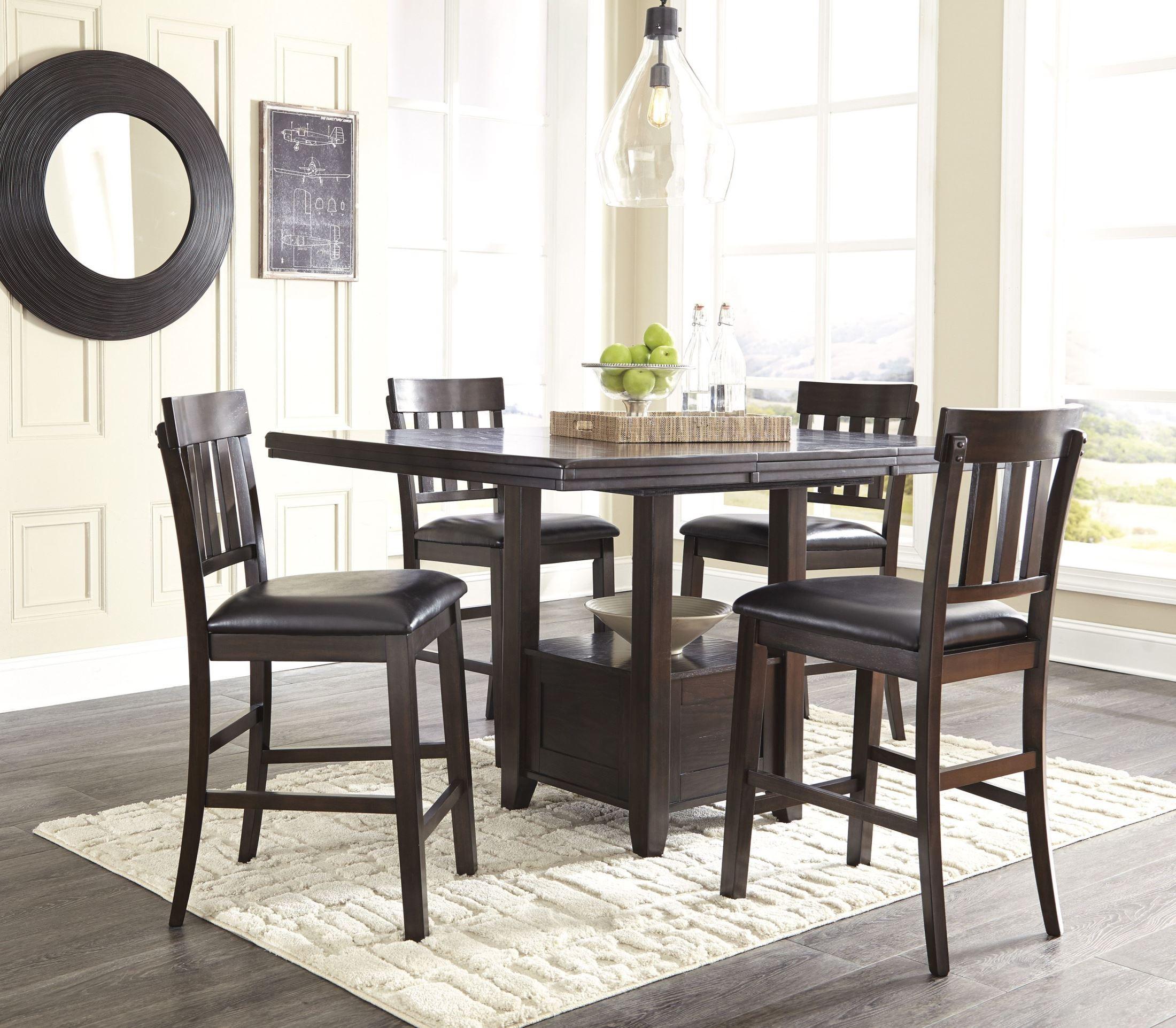 haddigan dark brown rectangular extendable counter height dining room set d596 42 ashley. Black Bedroom Furniture Sets. Home Design Ideas