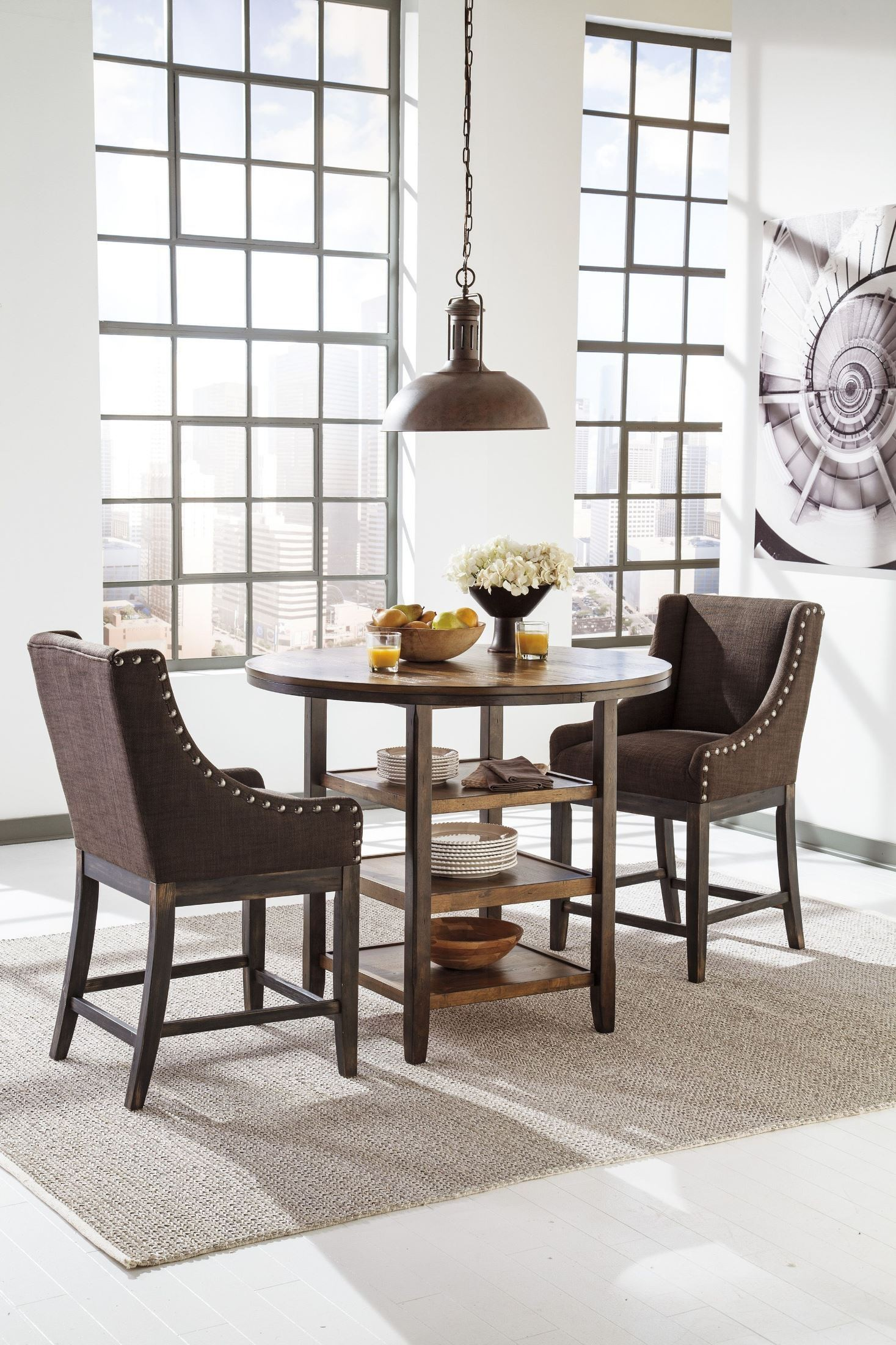 moriann round counter height dining room table from ashley d608 13 coleman furniture. Black Bedroom Furniture Sets. Home Design Ideas