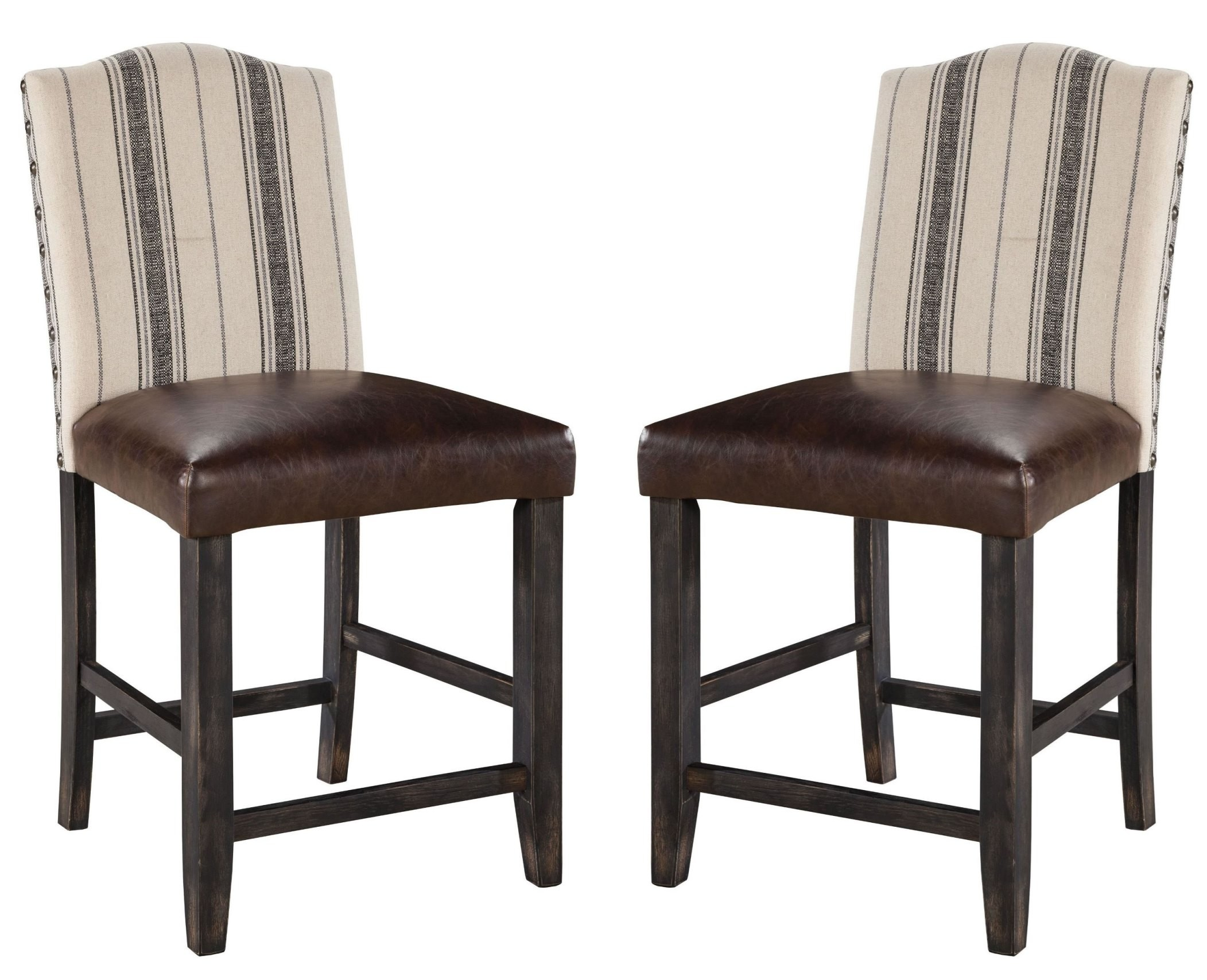 Moriann Two Tone Upholstered Counter Stool Set Of 2 From