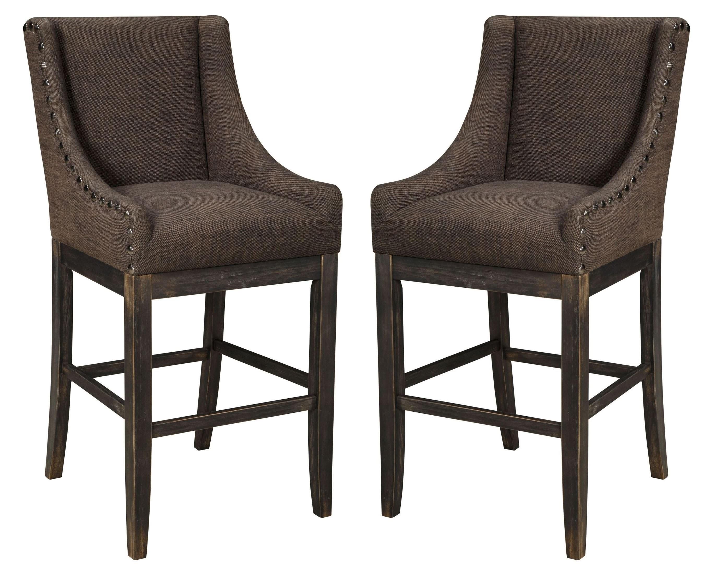 Moriann Dark Brown Tall Upholstered Barstool Set Of 2 From