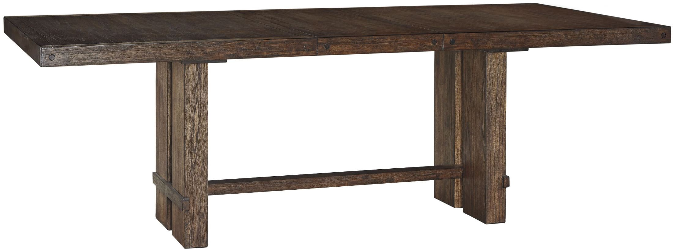 dark brown rectangular extendable dining table d614 35 ashley