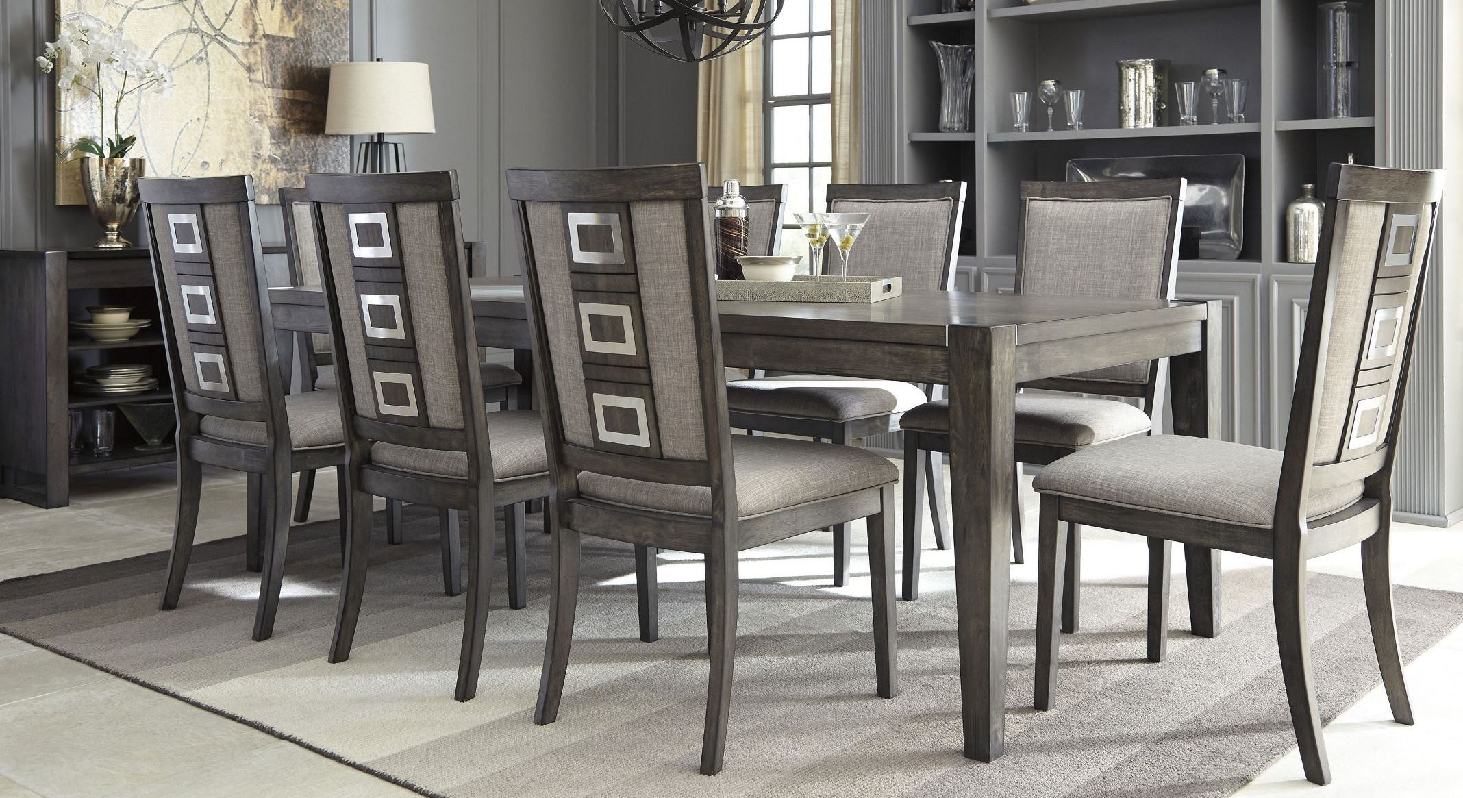 Chadoni Gray Rectangular Extendable Dining Room Set D624 35 Ashley