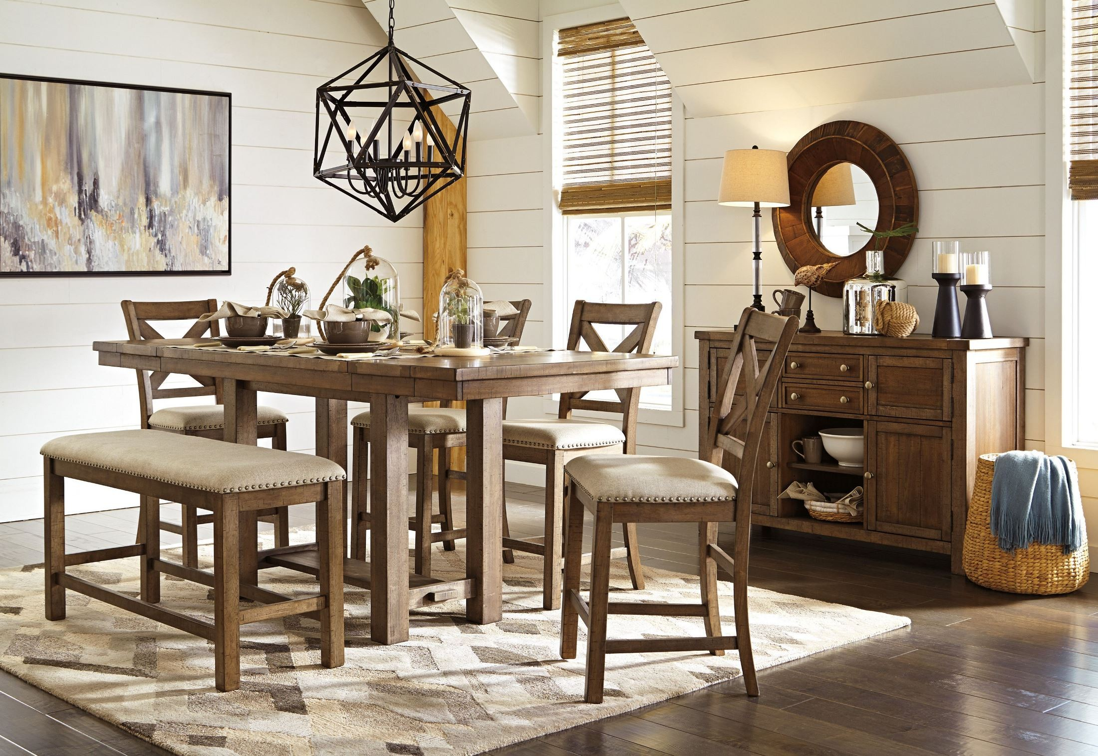 Moriville Gray Extendable Counter Height Dining Room Set D631 32 Ashley