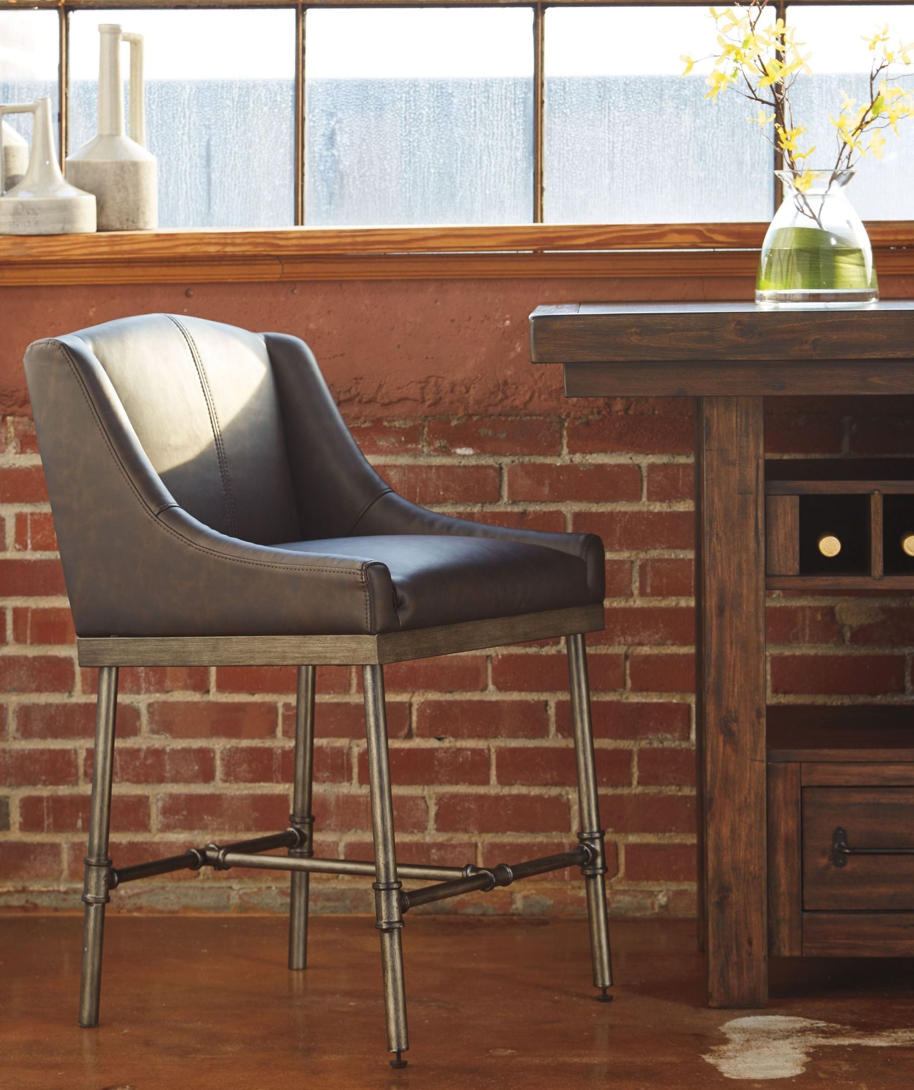 Starmore Brown Upholstered Counter Stool Set Of 2 D633