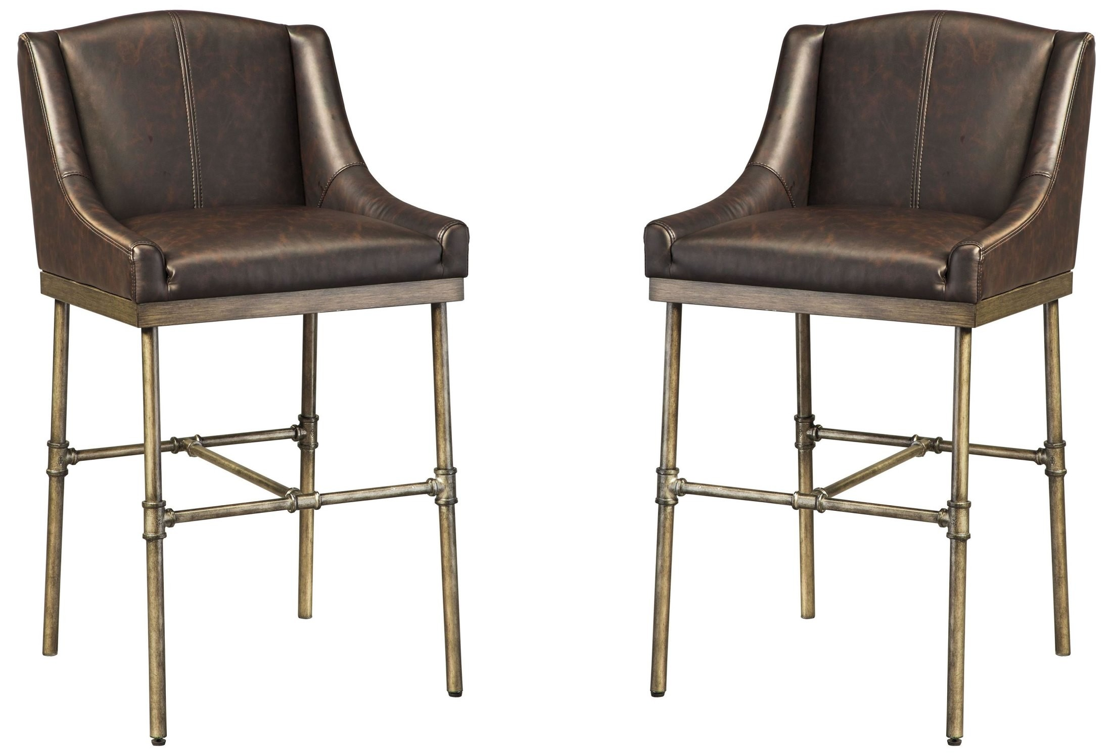 Starmore Brown Tall Upholstered Barstool Set Of 2 D633
