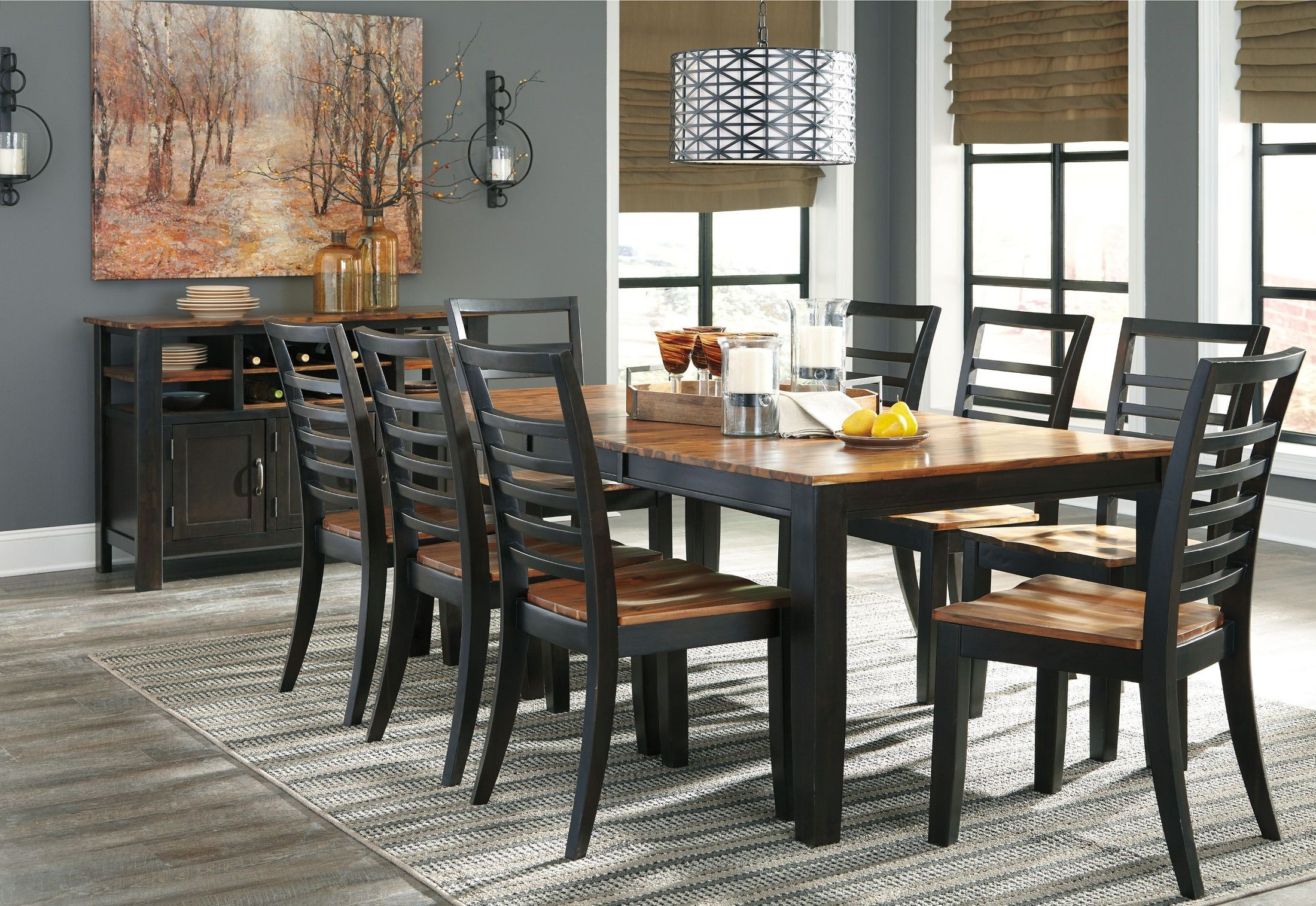 quinley two tone butterfly extendable rectangular dining room set d645 35 ashley. Black Bedroom Furniture Sets. Home Design Ideas