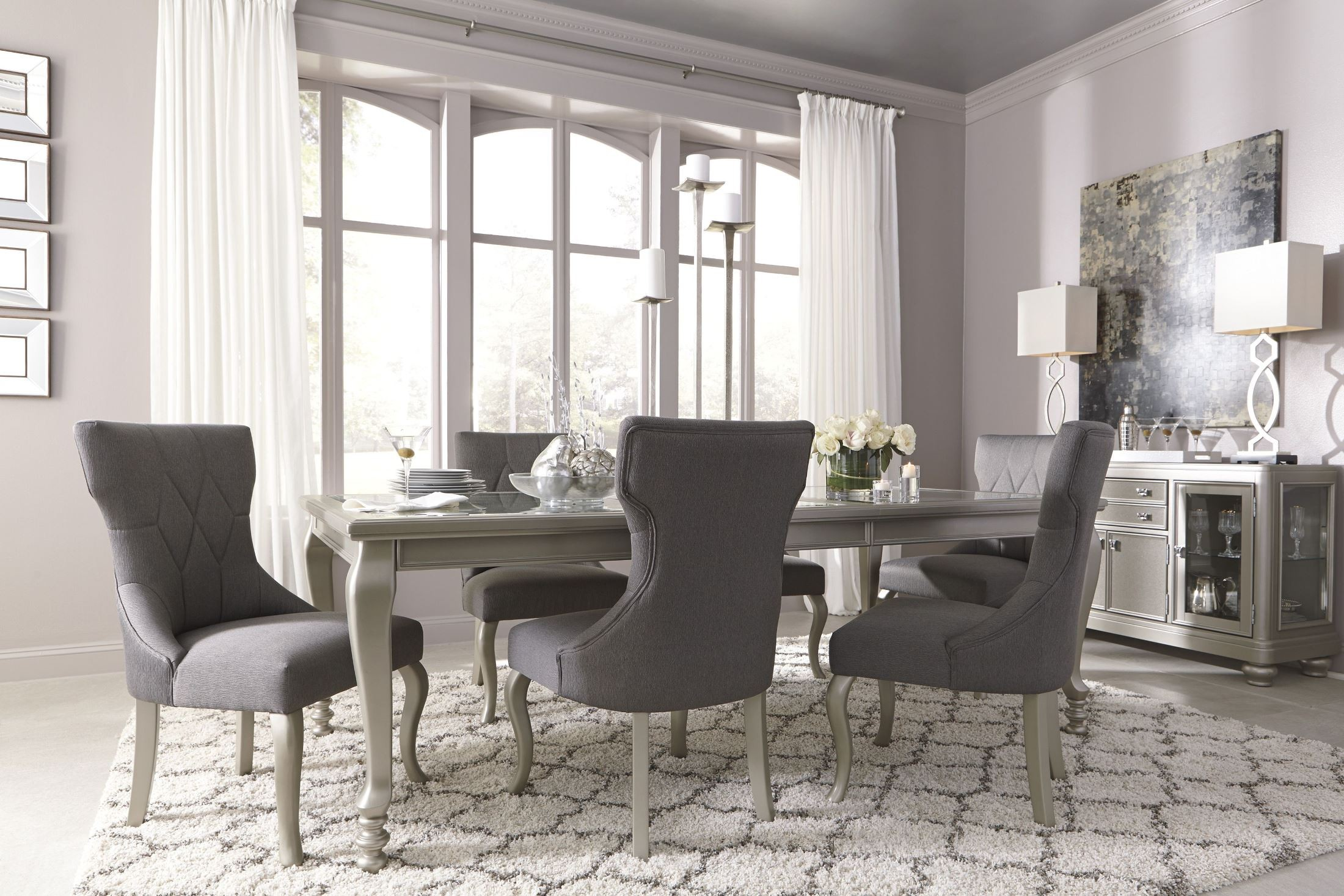 coralayne silver rectangular extendable dining room set