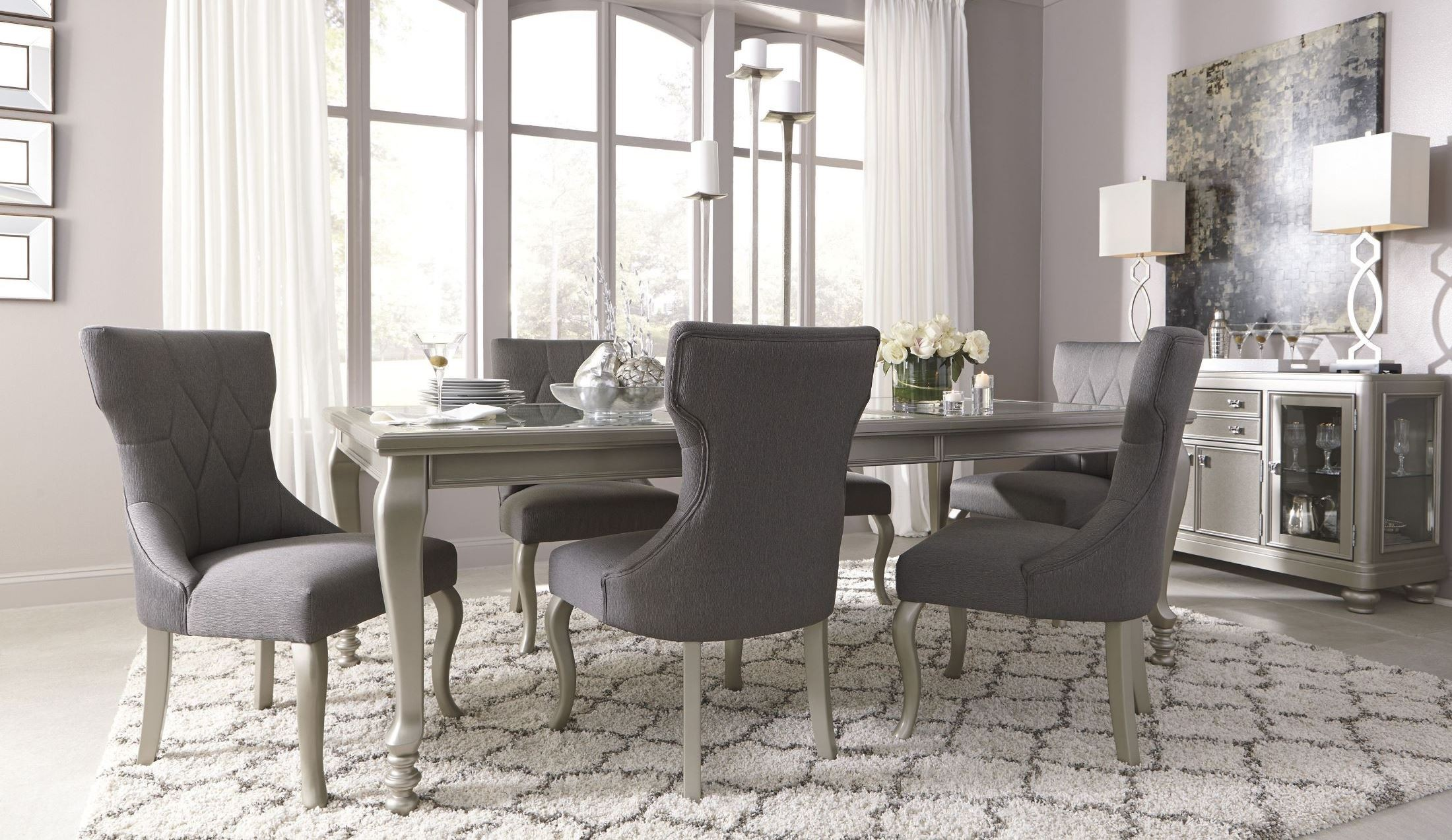 Coralayne Silver Rectangular Extendable Dining Room Set From Ashley D650 35