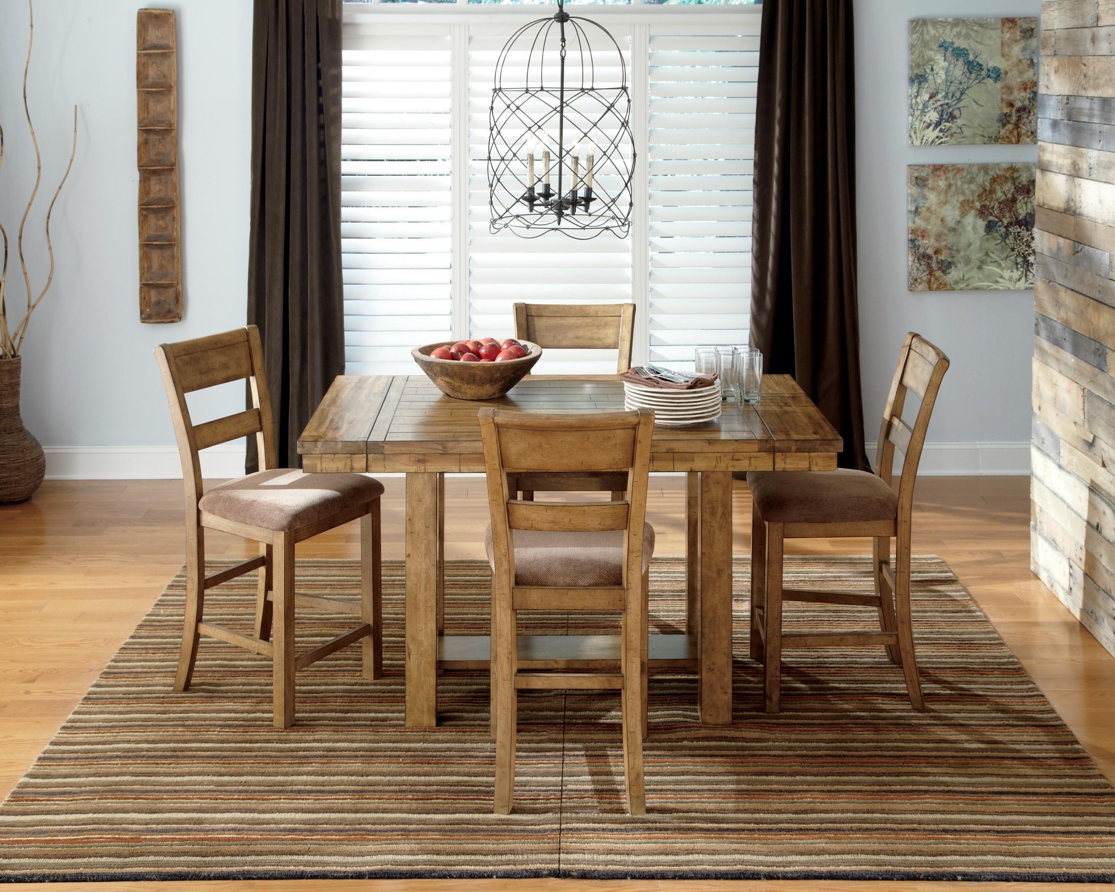 Krinden rectangular counter height extendable dining room for Counter height dining room sets
