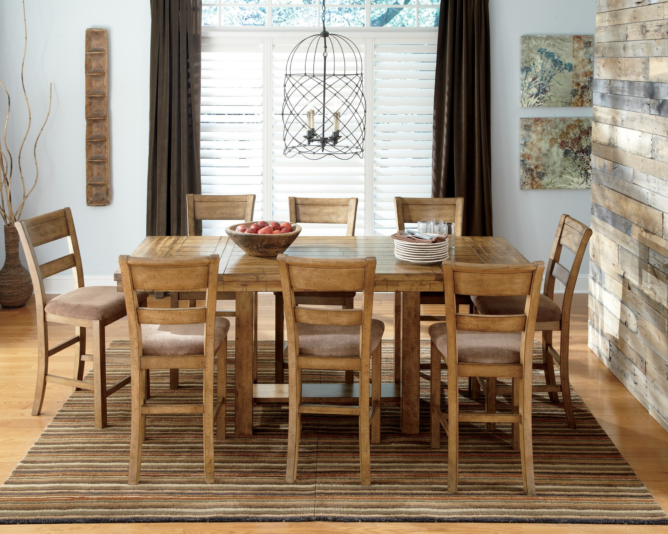 krinden rectangular counter height extendable dining room set from ashley d653 32 coleman furniture - Height Dining Room Table