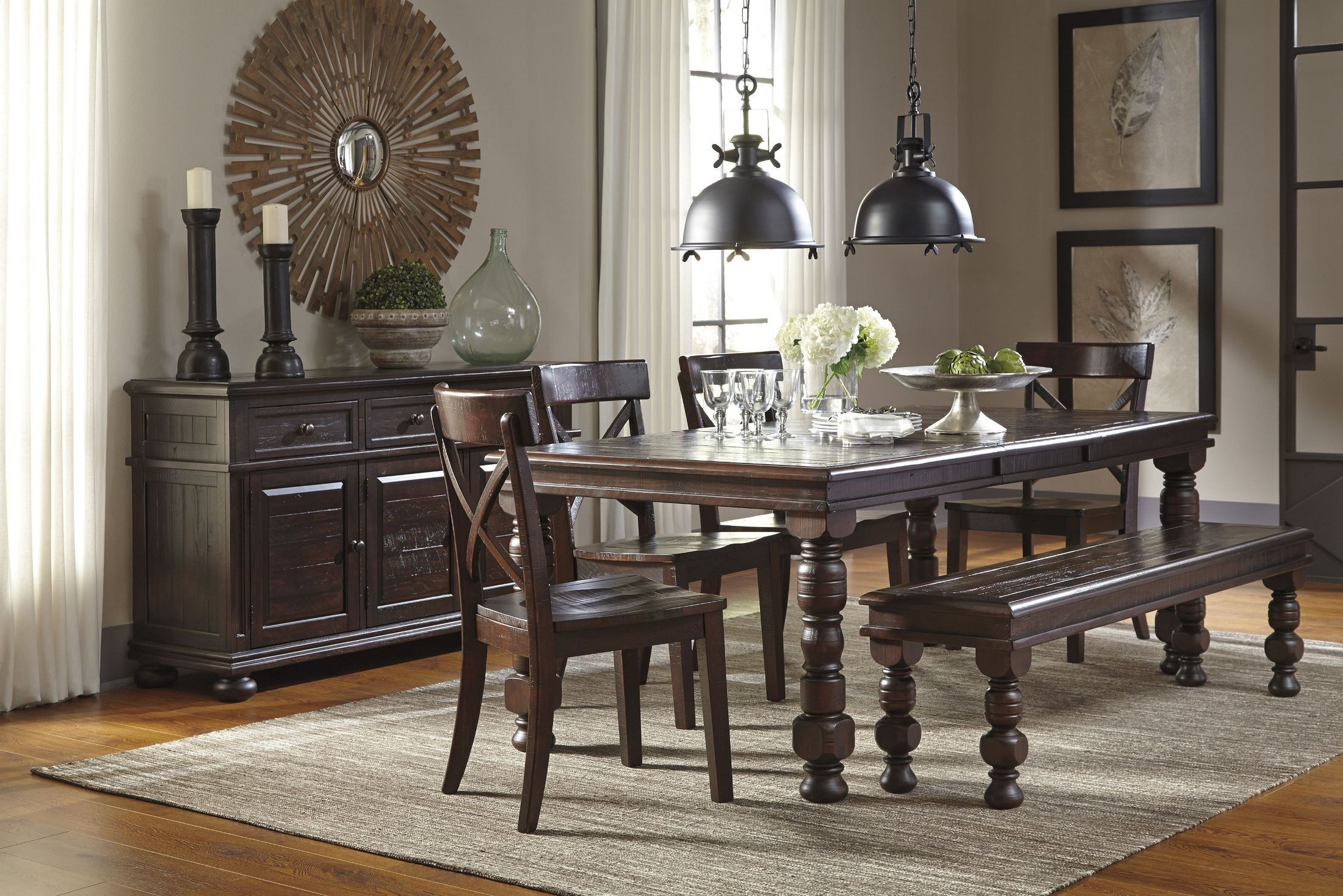 Gerlane dark brown dining room bench from ashley d657 00 for Dark brown dining room
