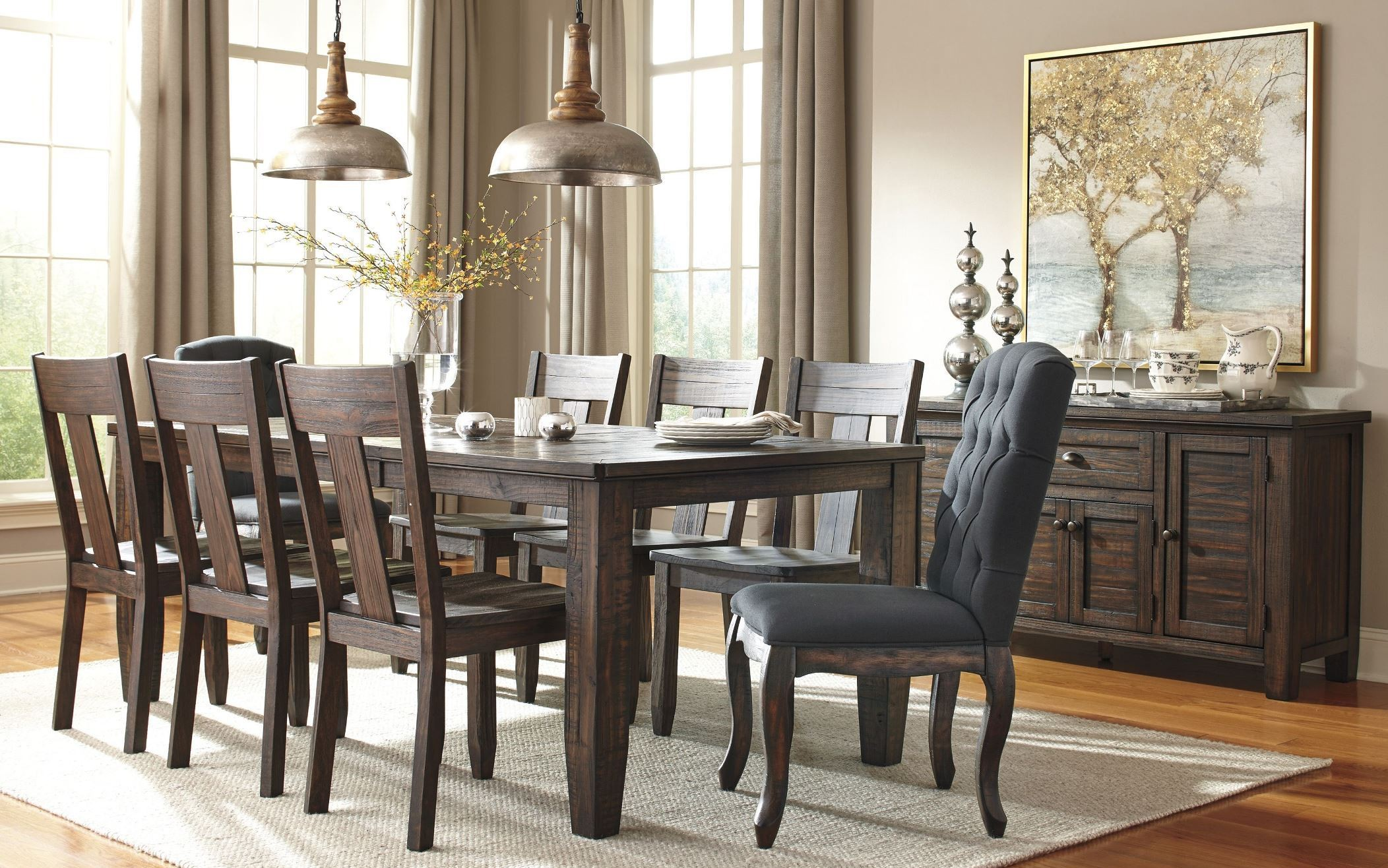 Trudell dark brown rectangular extendable dining room set for Brown dining room set