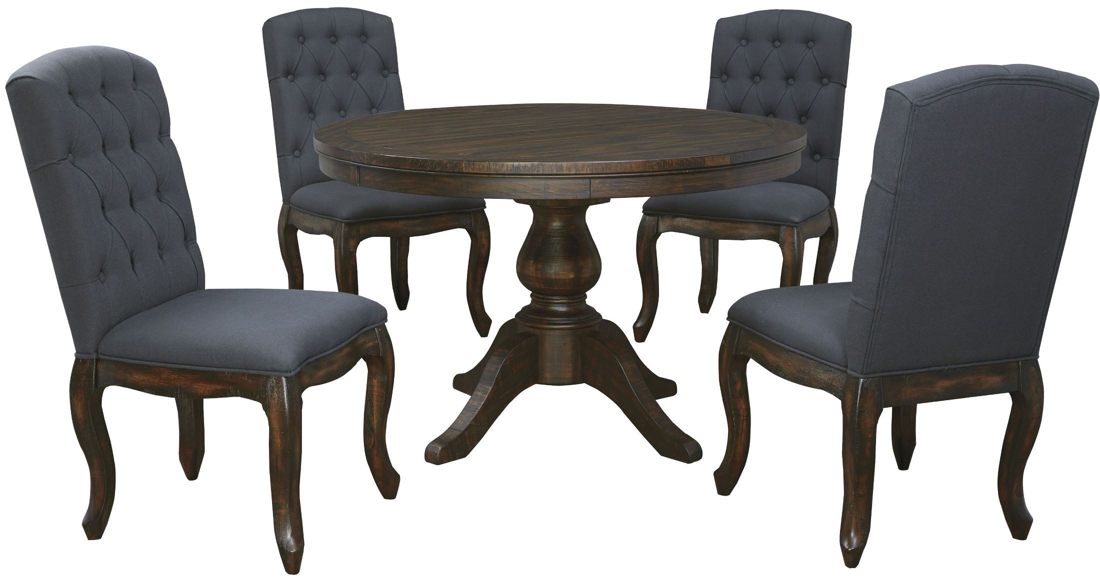 Trudell Dark Brown Round Extendable Pedestal Dining Room Set From Ashley D65
