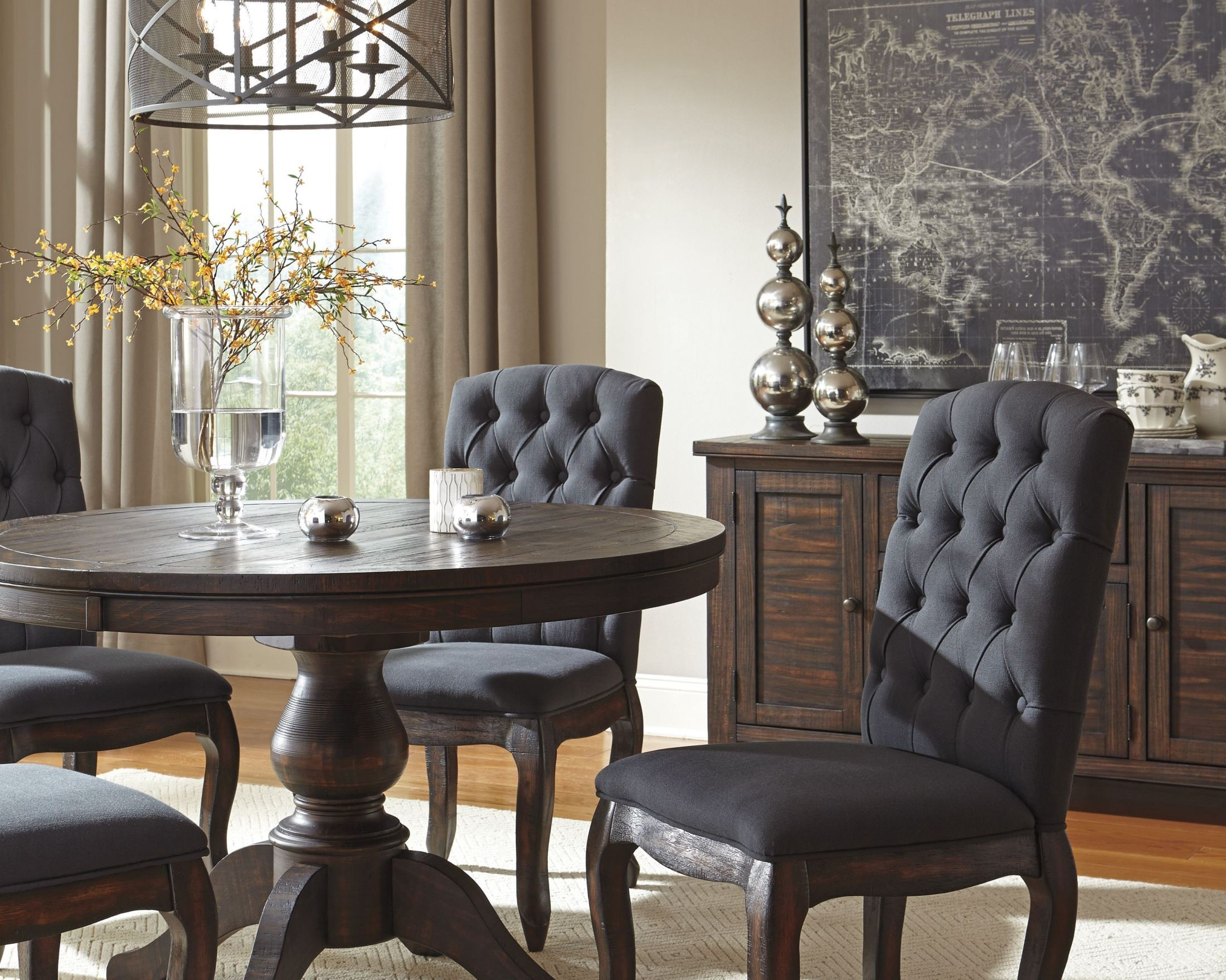 trudell dark brown round extendable pedestal dining room set from