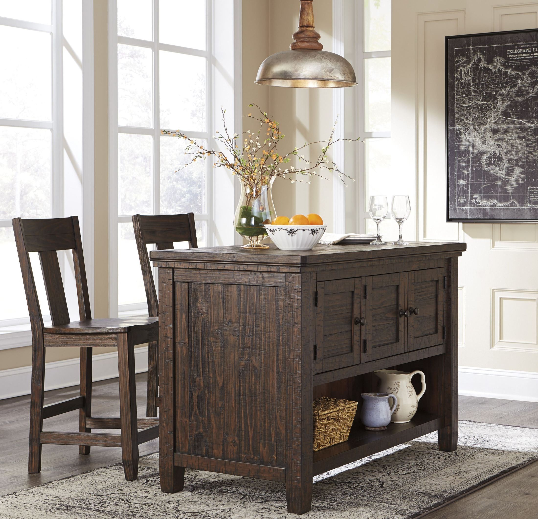 Trudell dark brown rectangular storage counter height for Dark brown dining room