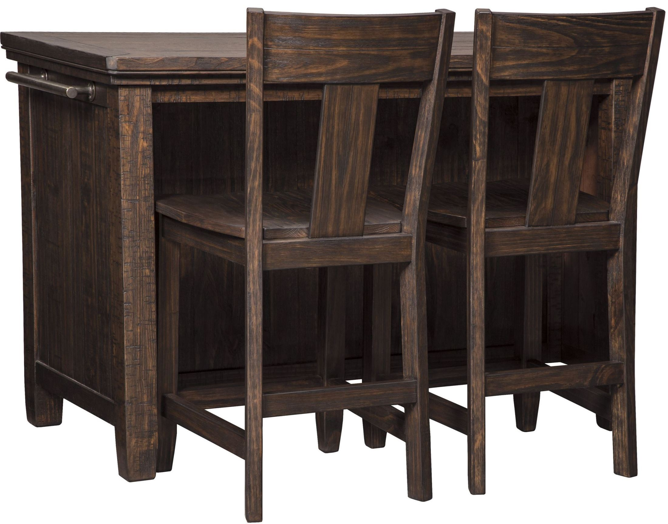 trudell dark brown rectangular storage counter height dining table d658 65 ashley. Black Bedroom Furniture Sets. Home Design Ideas