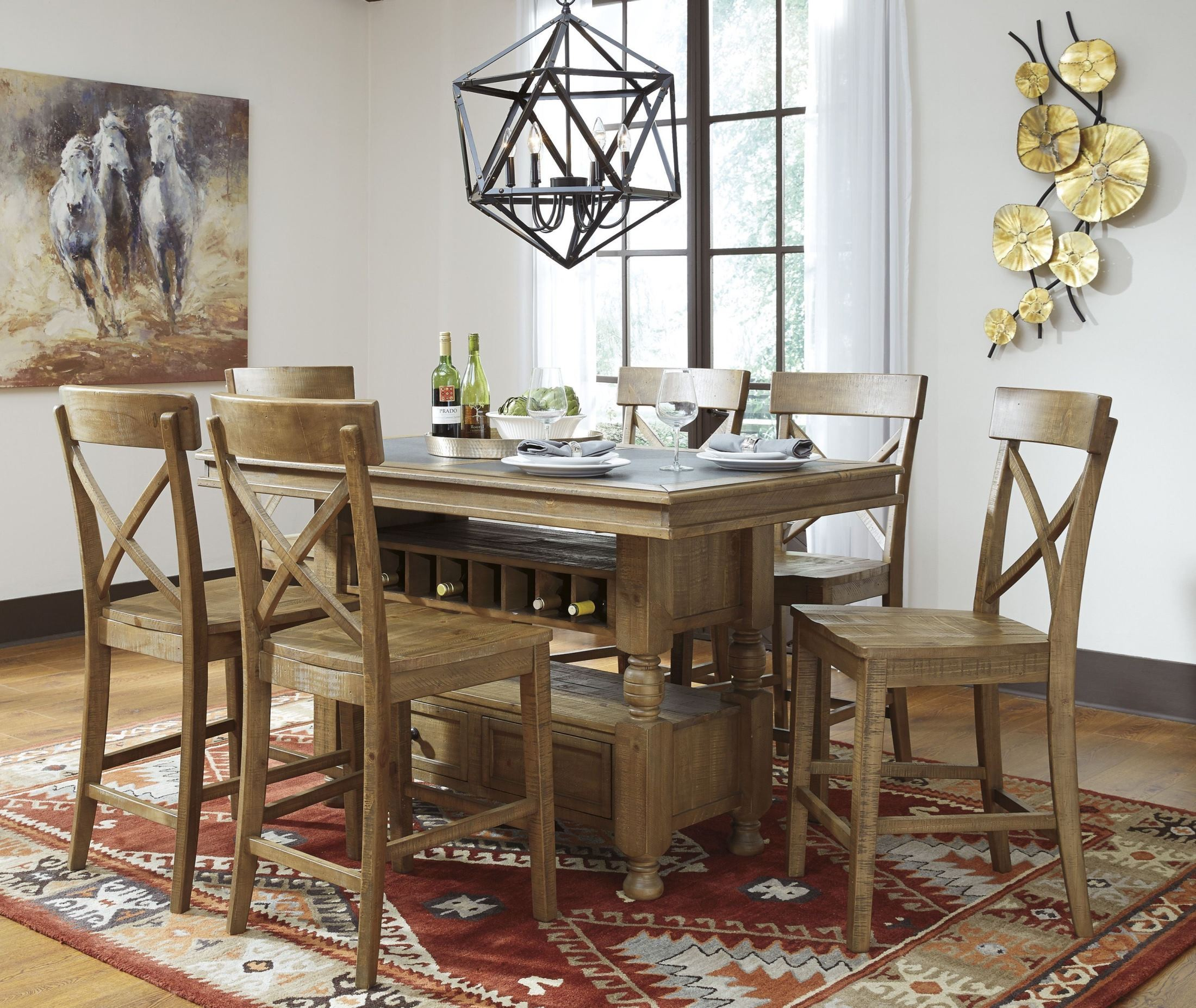 Trishley light brown rectangular storage counter height dining room set d659 32 ashley - Dining room sets with storage ...