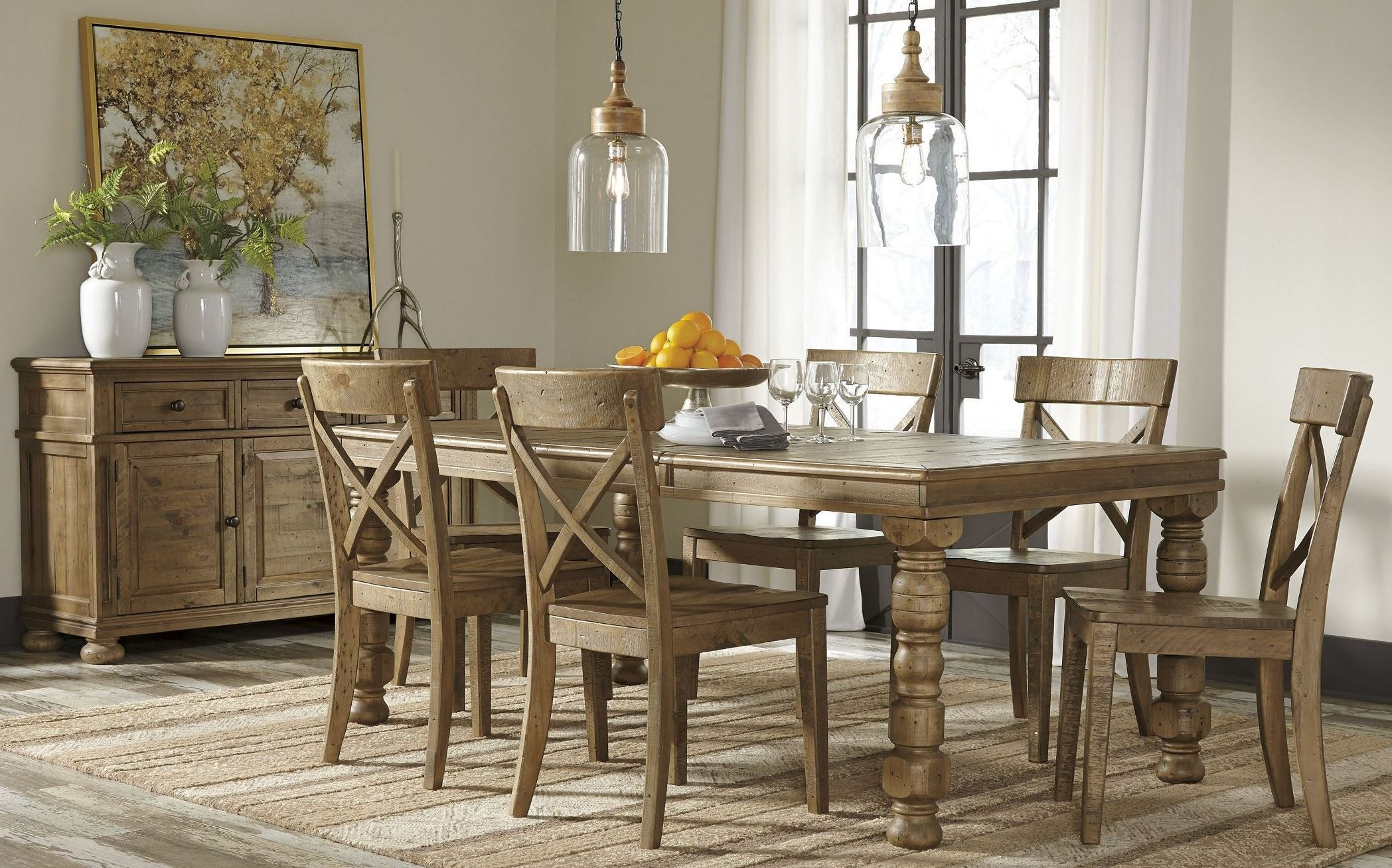 Trishley brown extendable rectangular dining room set from for Brown dining room set