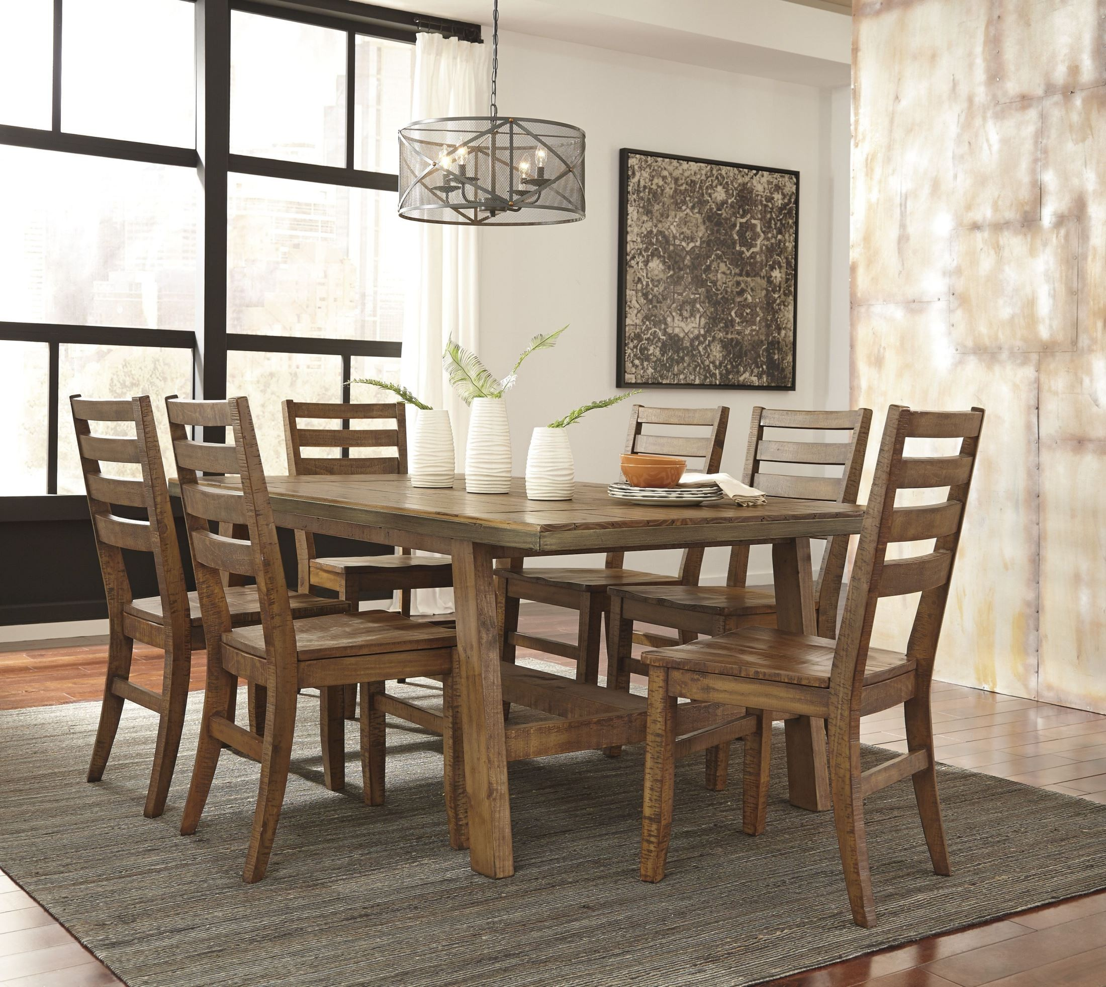 Dondie Light Brown Rectangular Dining Room Set, D663-25