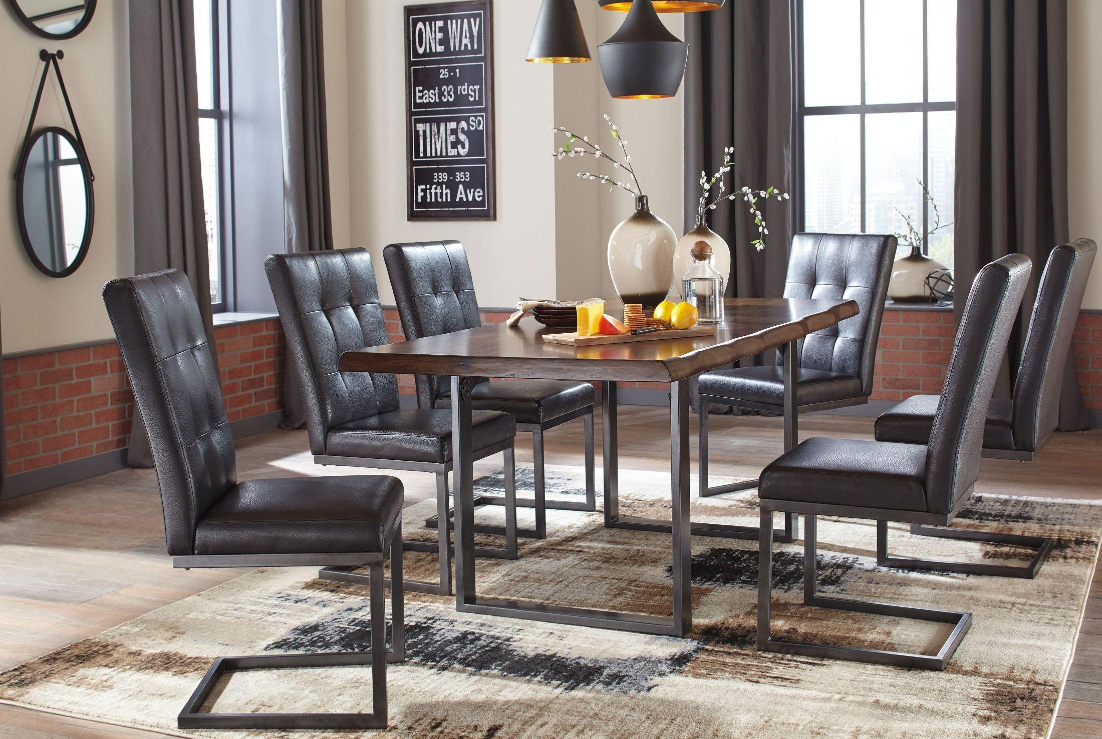 Esmarina dark brown rectangular dining room set d665 25 for Brown dining room set